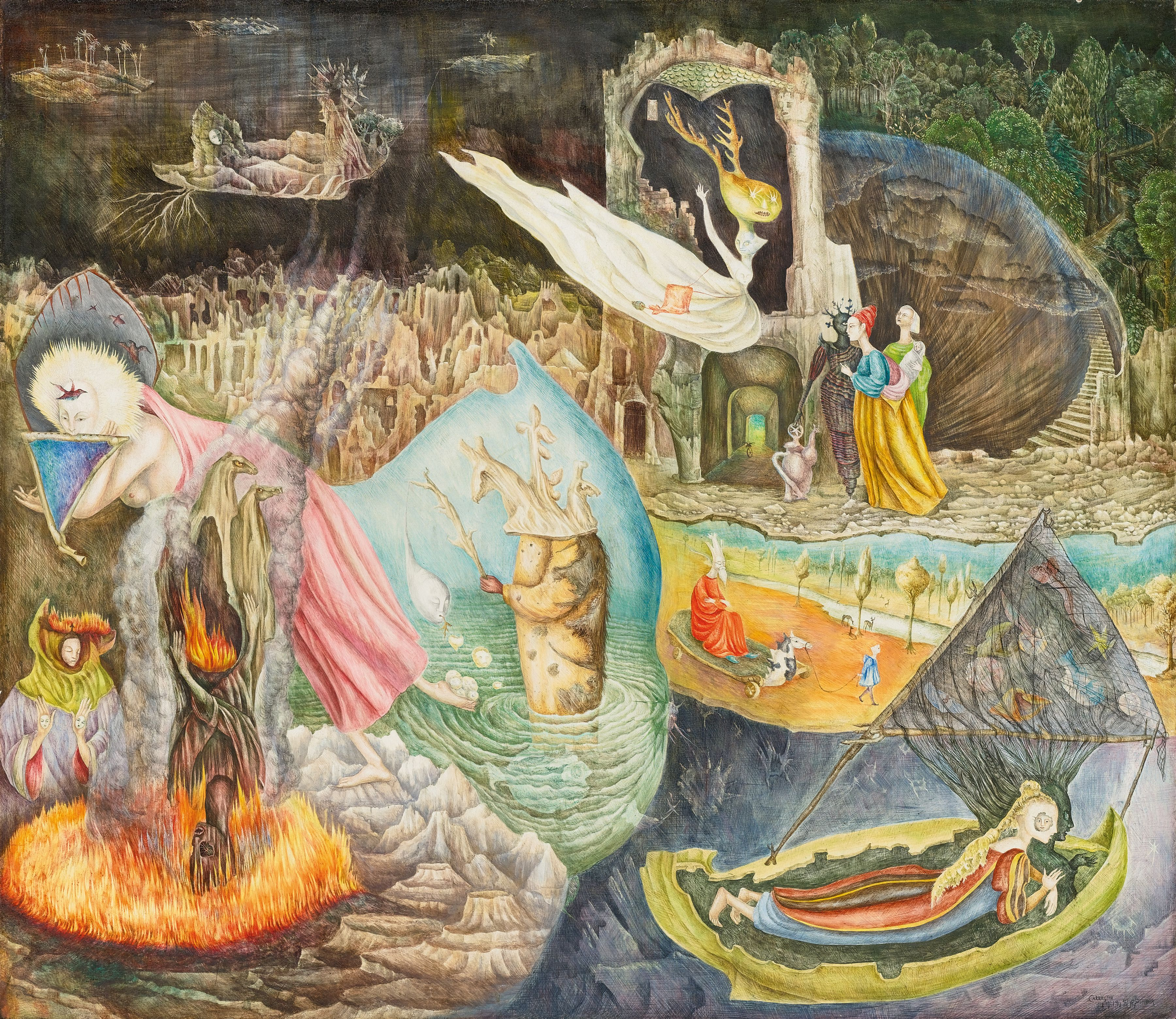 Leonora Carrington. Les Distractions de Dagobert. 1945. Tempera on Masonite, 74.9 by 86.7 cm (29½ by 34⅛ in.). Private Collection © 2019 Leonora Carrington / Artists Rights Society (ARS), New York