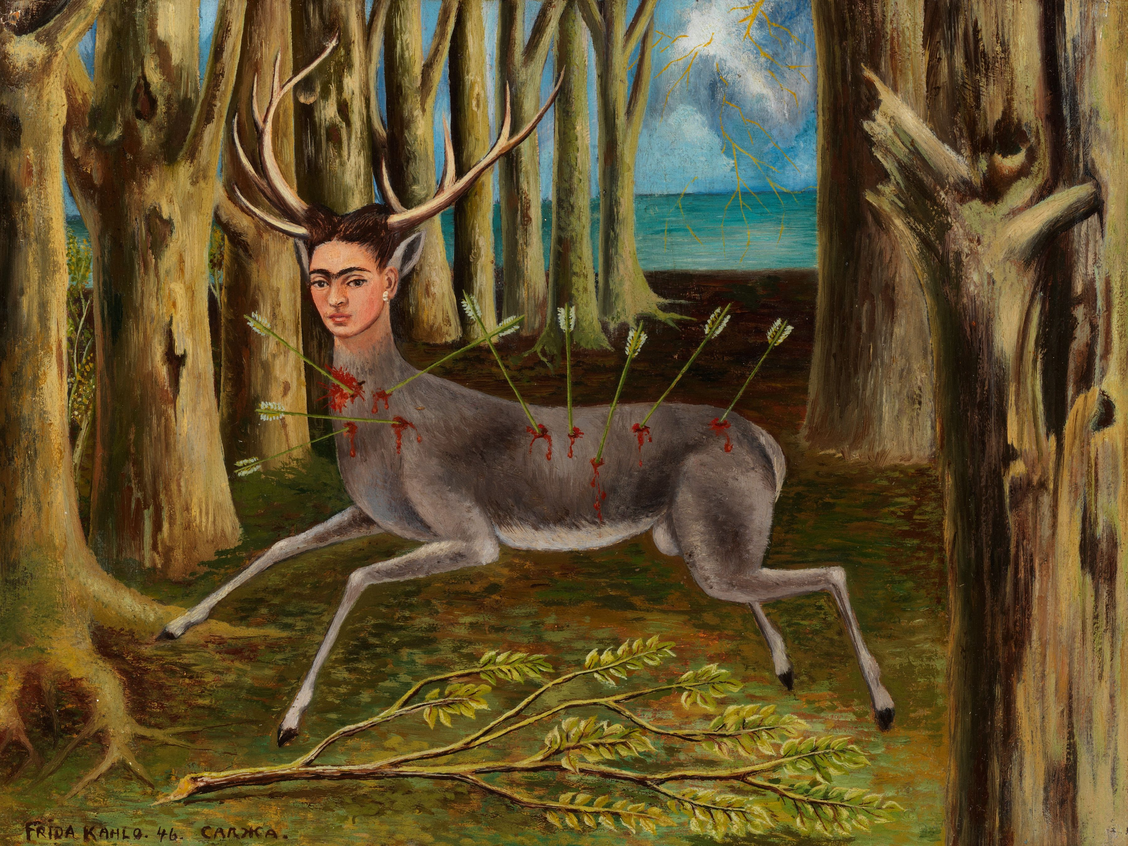 Frida Kahlo. La Venadita (The Little Deer). 1946. Oil on Masonite, 22.5 by 29.8 cm (8⅞ by 11¾ in.). Private Collection © 2019 Banco de México Diego Rivera Frida Kahlo Museums Trust, Mexico, D.F. / Artists Rights Society (ARS), New York