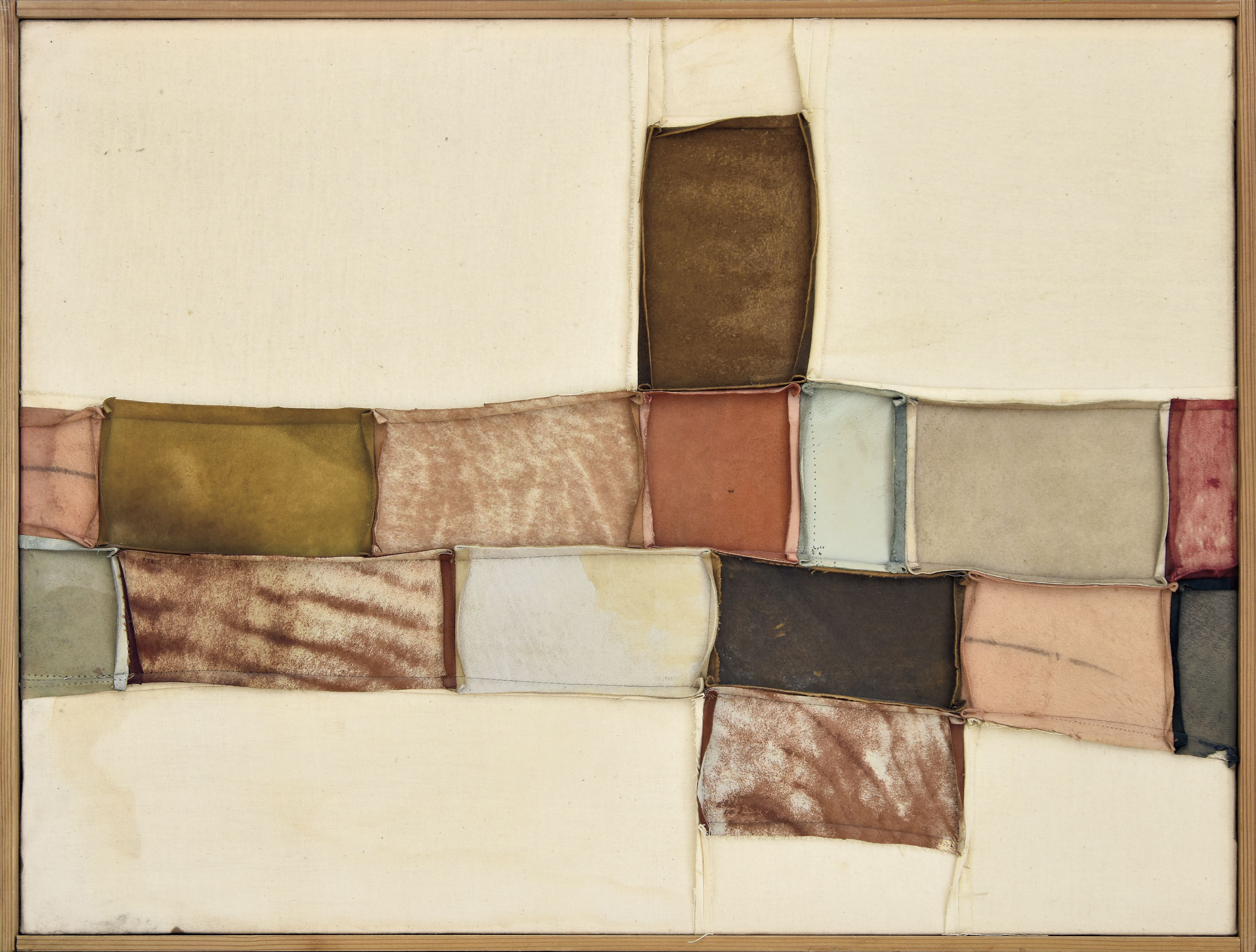 Nuvolo (Giorgio Ascani). Untitled. 1960. Sewn canvas and deerskin, 55 x 72 cm (21⅝ x 28⅜ in)