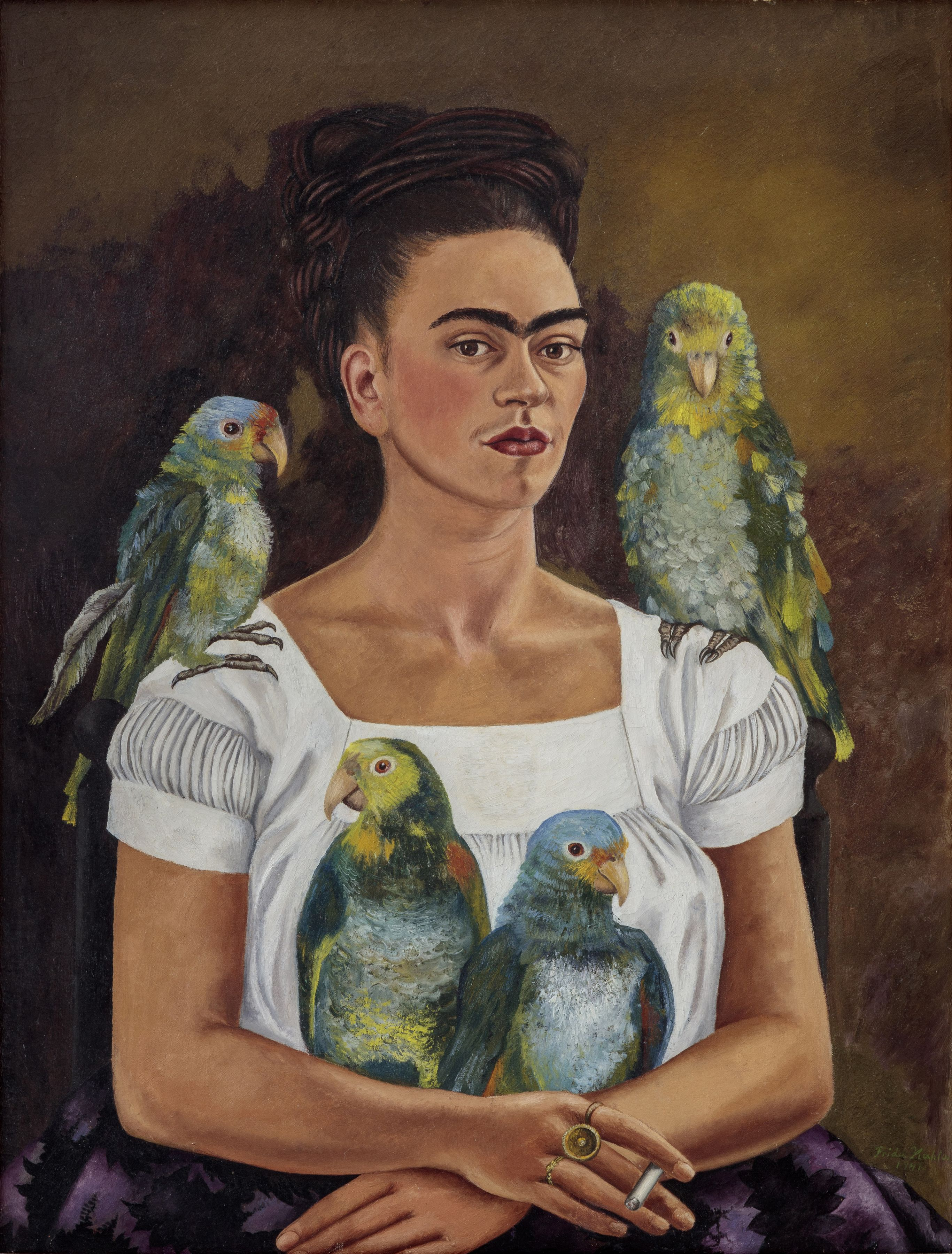 Frida Kahlo. Me and My Parrots. 1941. Oil on canvas, 82 by 62.8 cm (32¼ by 24¾ in.). Private Collection © 2019 Banco de México Diego Rivera Frida Kahlo Museums Trust, Mexico, D.F. / Artists Rights Society (ARS), New York