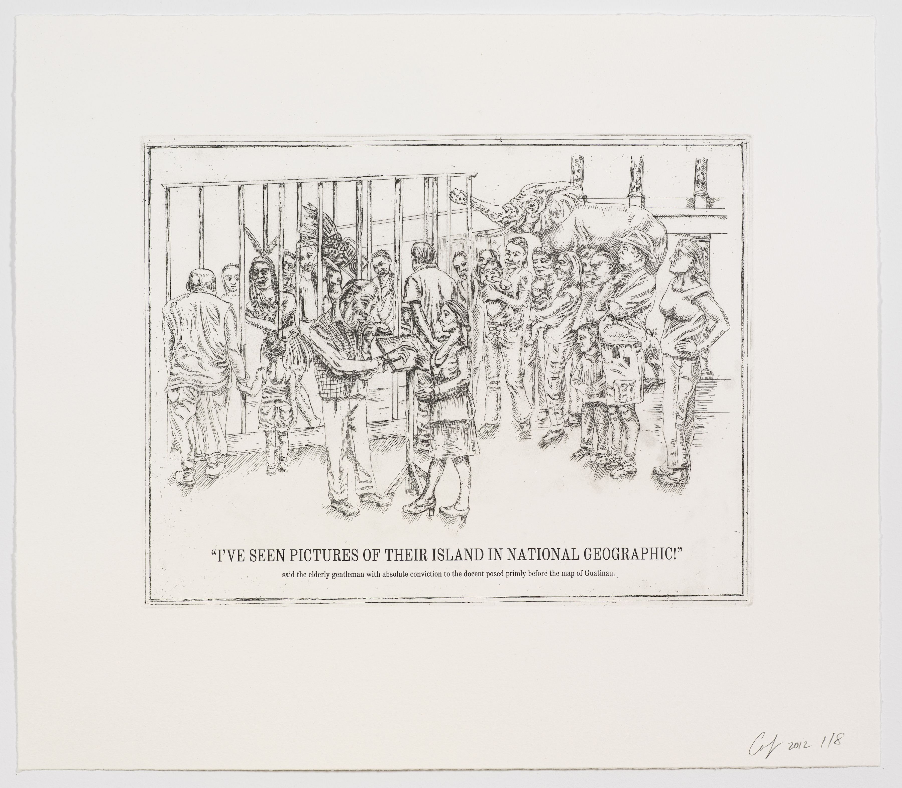 The Undiscovered Amerindians:I've Seen Pictures of Their Island in National Geographic!,2012, Intaglio, engraving, and drypoint etching on paper,21h x 18.3w in (53.3h x 46.5w cm)
