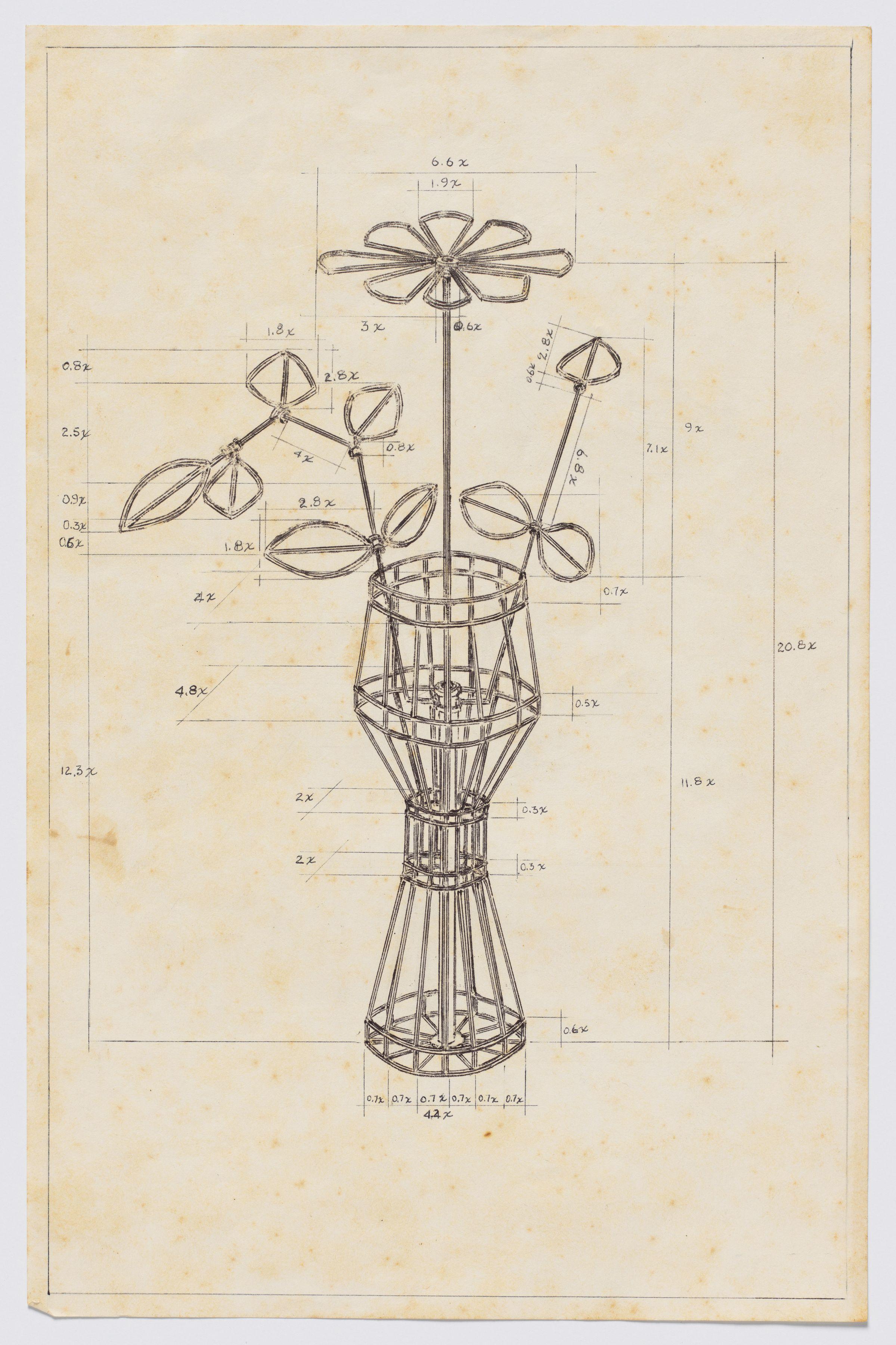 Serie Máquinas Inútiles. Florero, 1974, Pen on paper