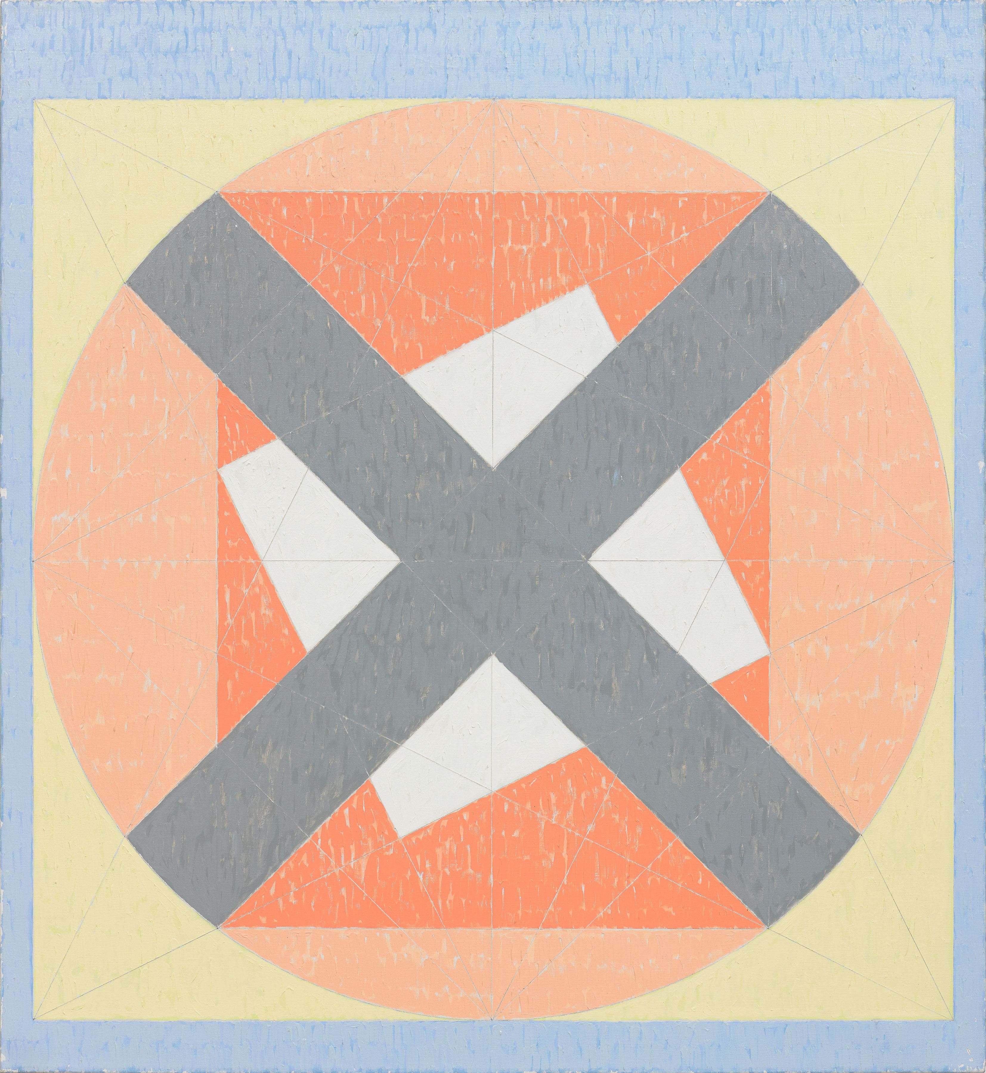 X on Circle in the Square (Q4-81 #2), 1981, Acrylic on canvas