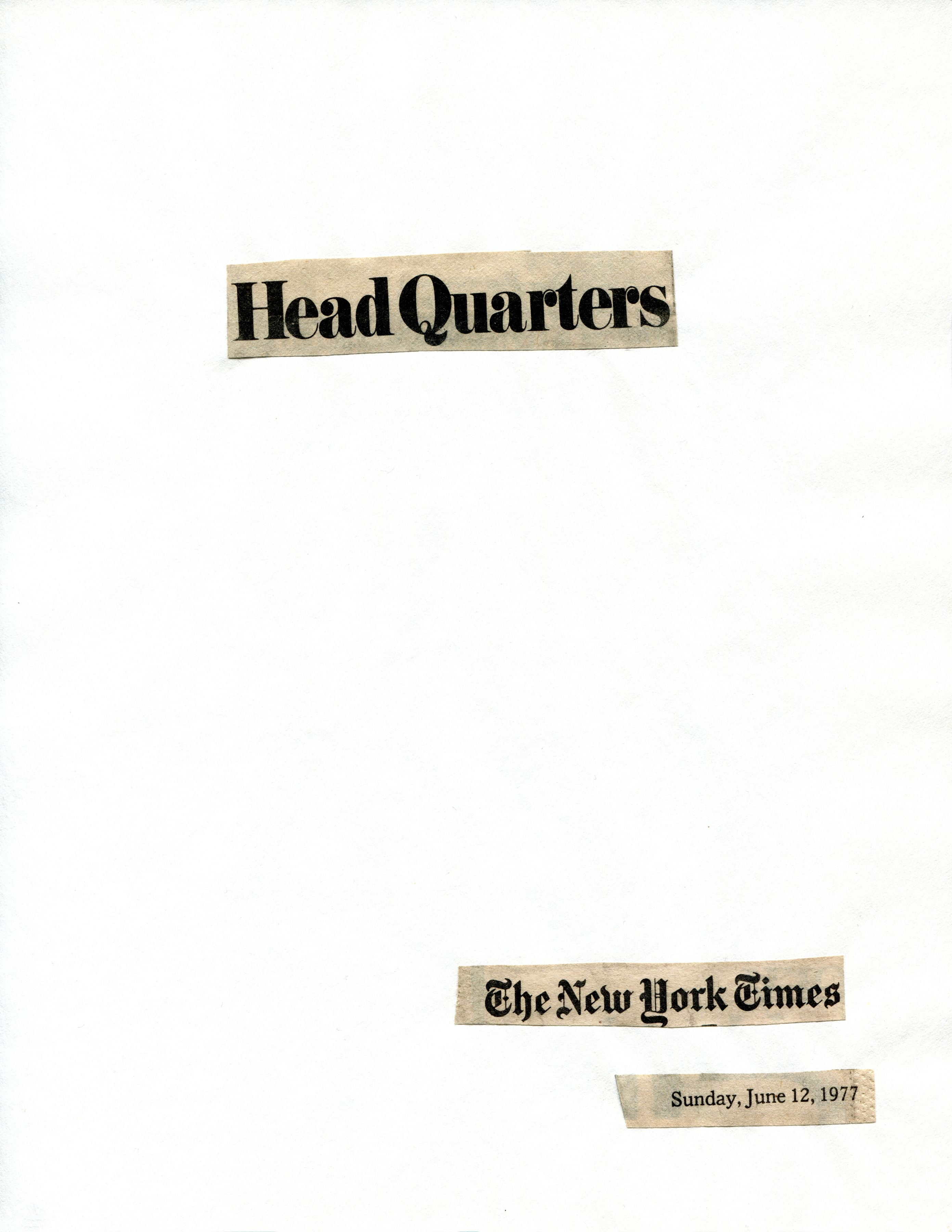 Cutting Out The New York Times, Head Quarters, 1977, Part 1 of 11, Toner ink on adhesive paper,