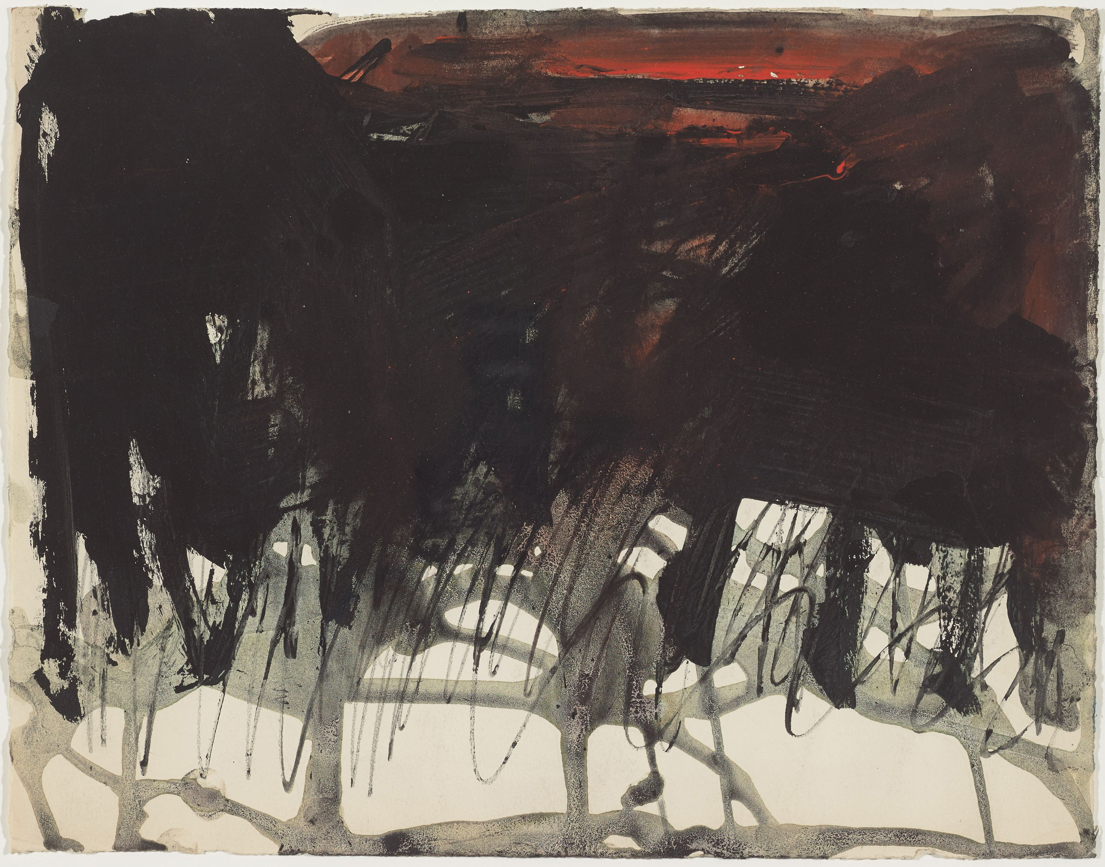 Untitled (Nightfall), c. 1961, Gouache and ink on paper