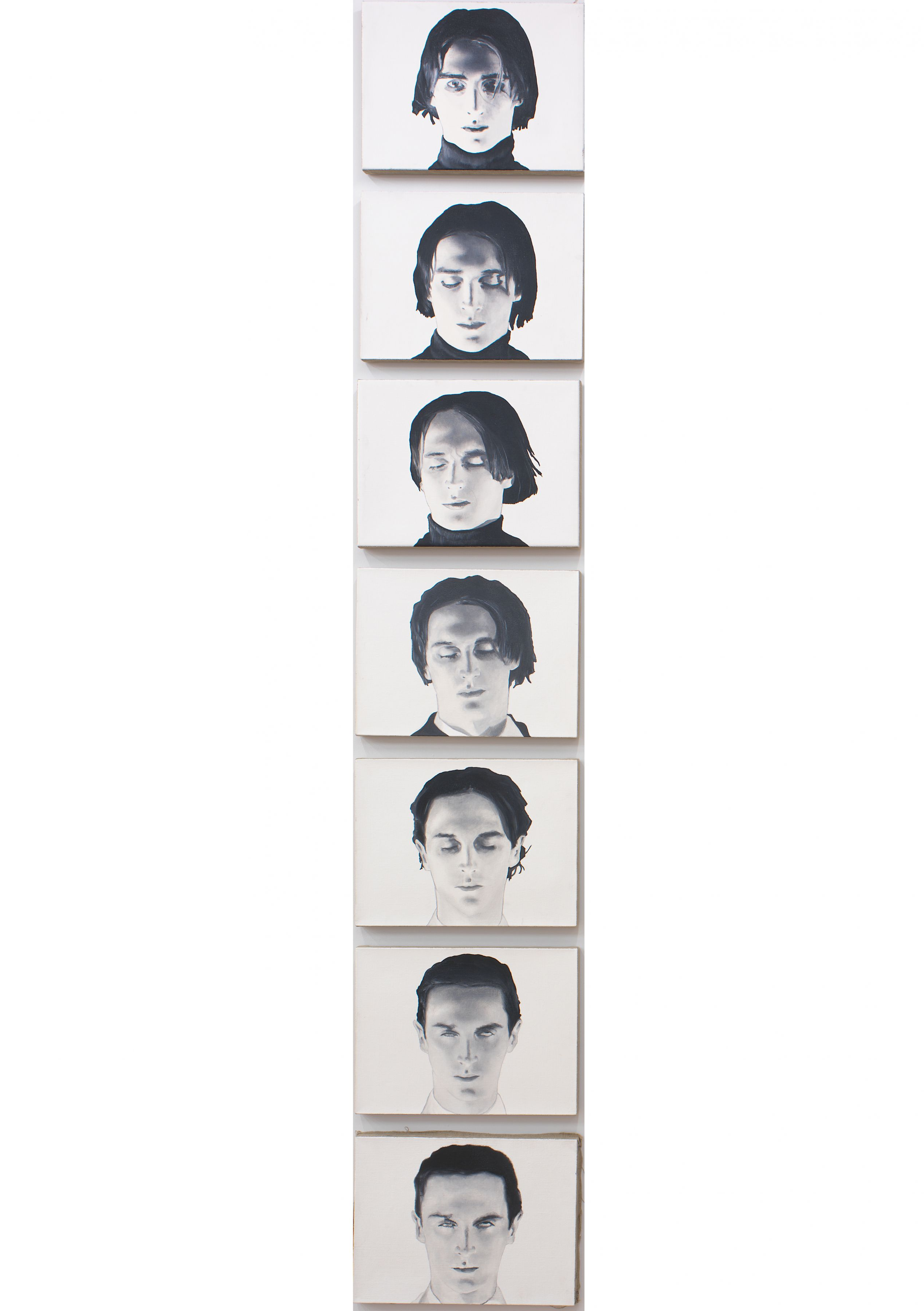 """Untitled (from film stills, """"Diary of Somnambulist""""), 1995, In 7 Parts, Oil on linen"""