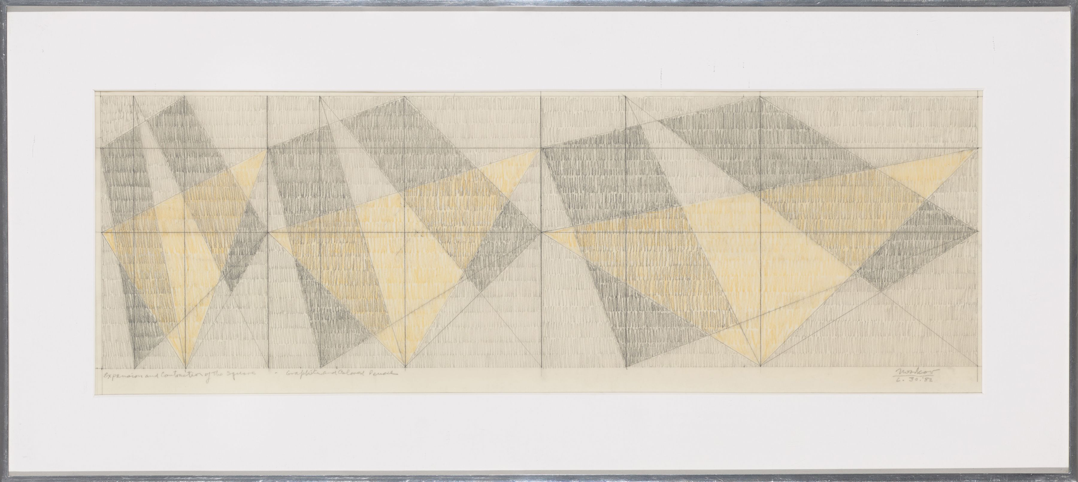 Expansion and Contraction of the Square, 1982, Graphite and colored pencil on vellum