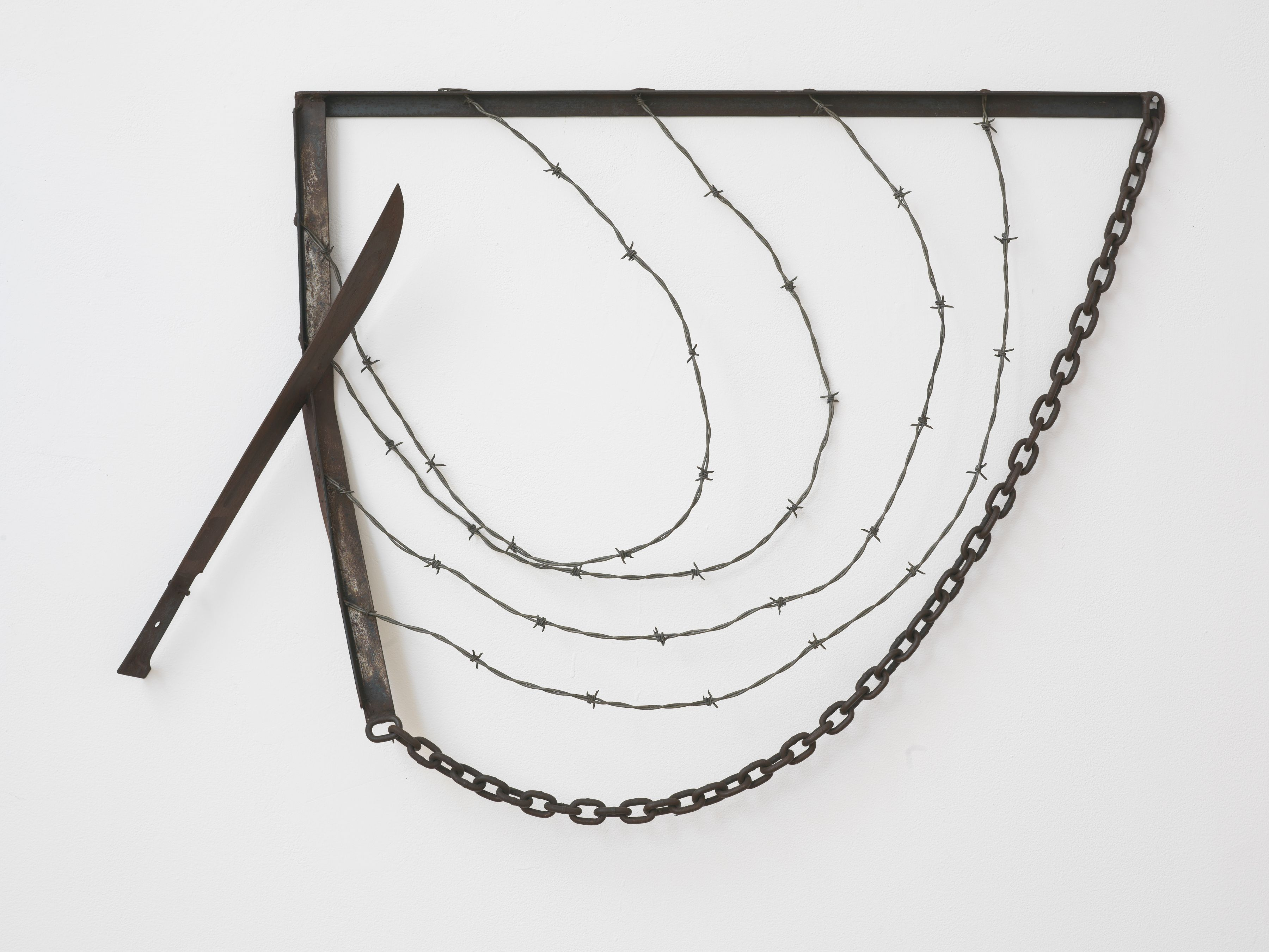 Machete for Gregory, 1974, Welded steel, barbed wire, and chain
