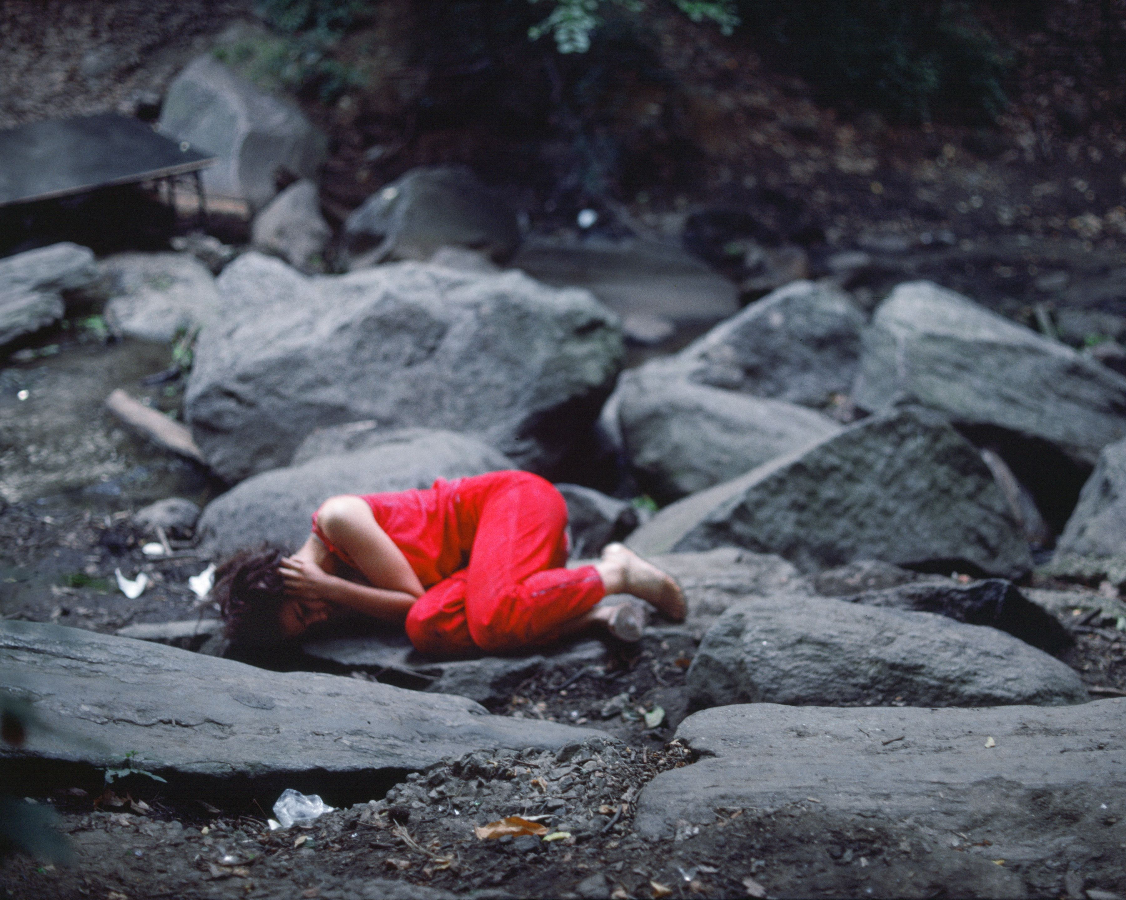 Rivers, First Draft: The Teenager curls up in a fetal position, 1982/2015, Digital C-print from Kodachrome 35mm slides in 48 parts, 16h x 20w in (40.64h x 50.80w cm)