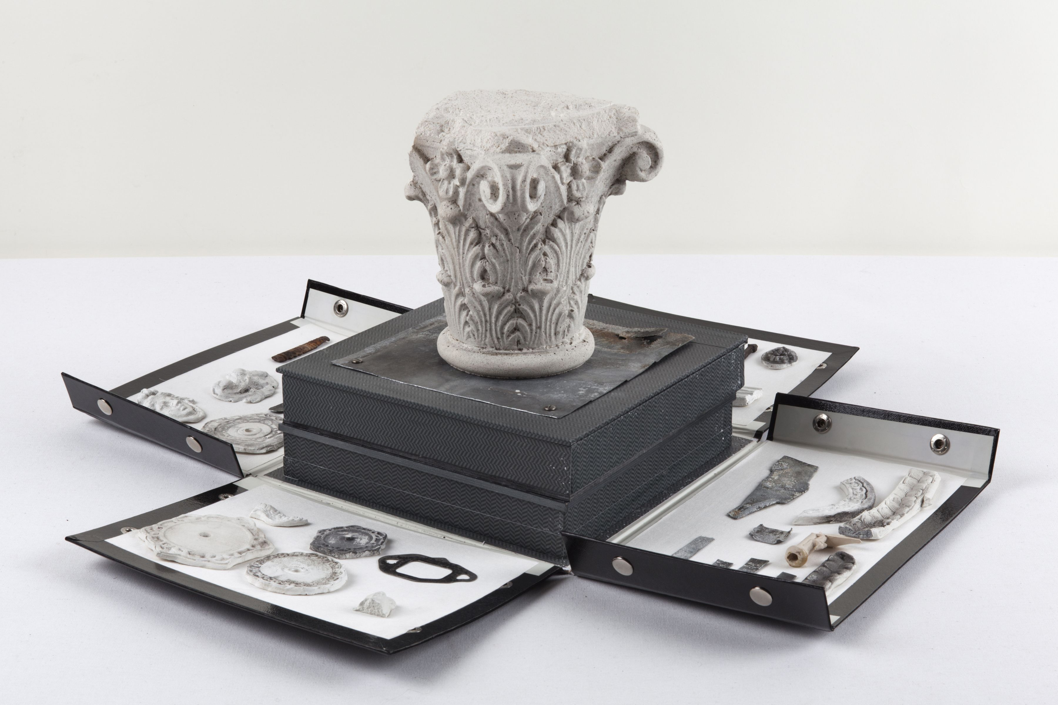 Oblivion, 2010/12 Fabric, ceramics, metal, stone, lead, two boxes, glass, chalk