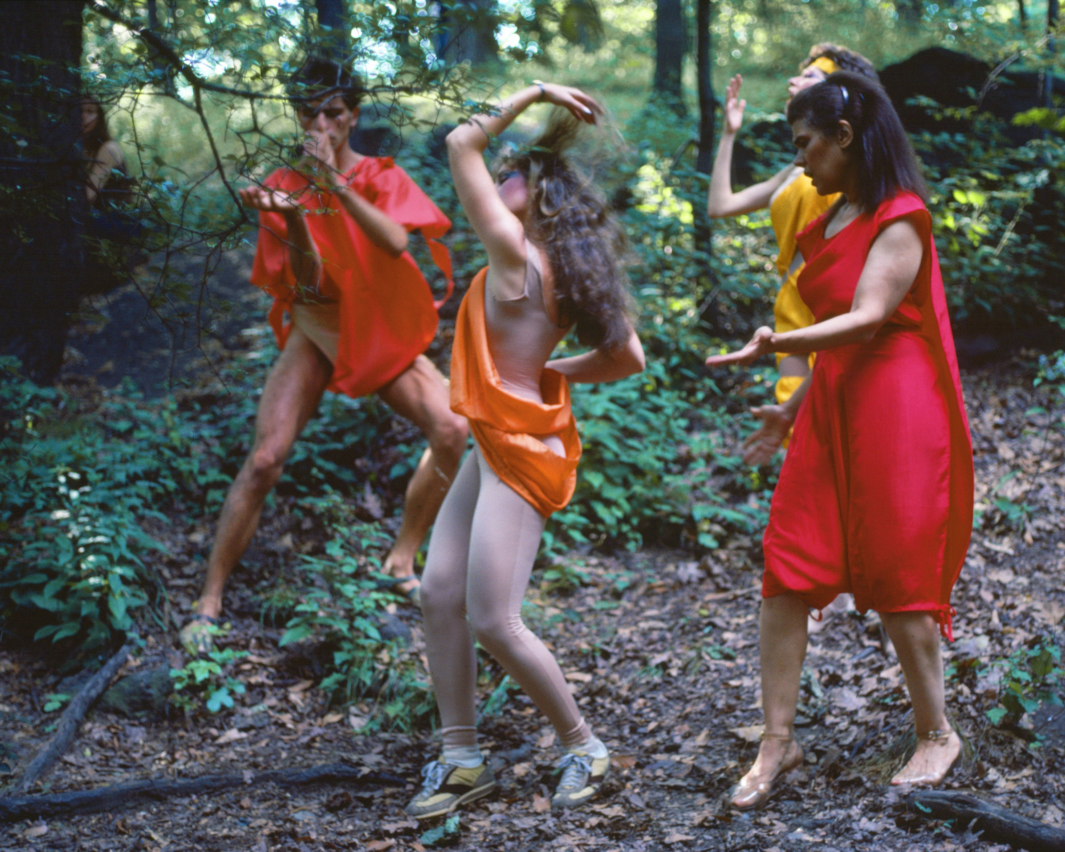 Rivers, First Draft: The Debauchees dance in place, and the Woman in Red catches up to them, 1982/2015, Digital C-print from Kodachrome 35mm slides in 48 parts, 16h x 20w in (40.64h x 50.80w cm)