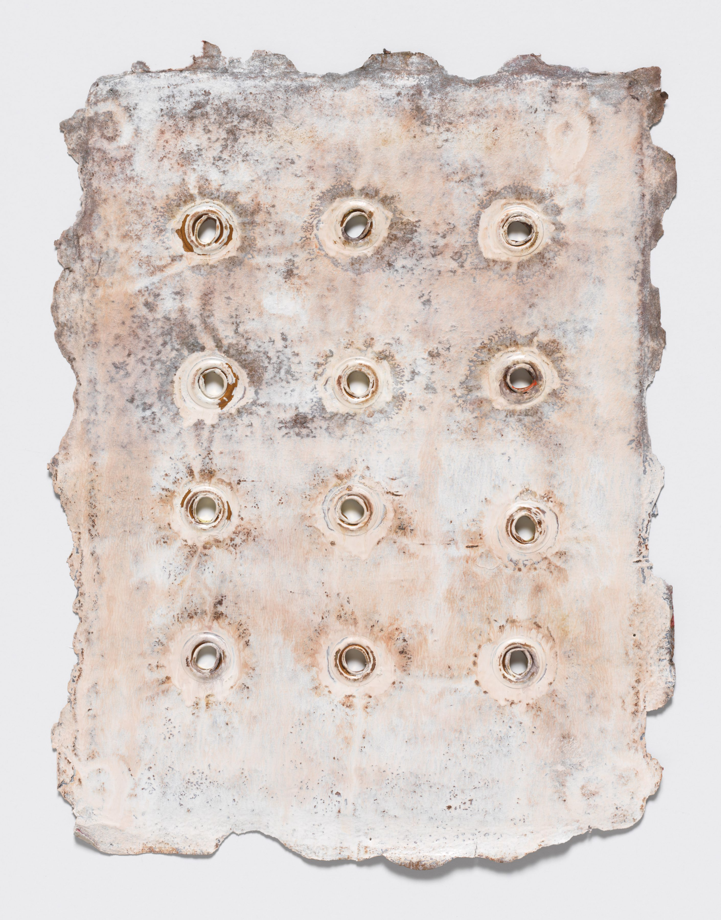 Grommetype #26, 2017, Monotype printed over grommeted Venice Watercolor #4 (2006) on Twinrocker paper