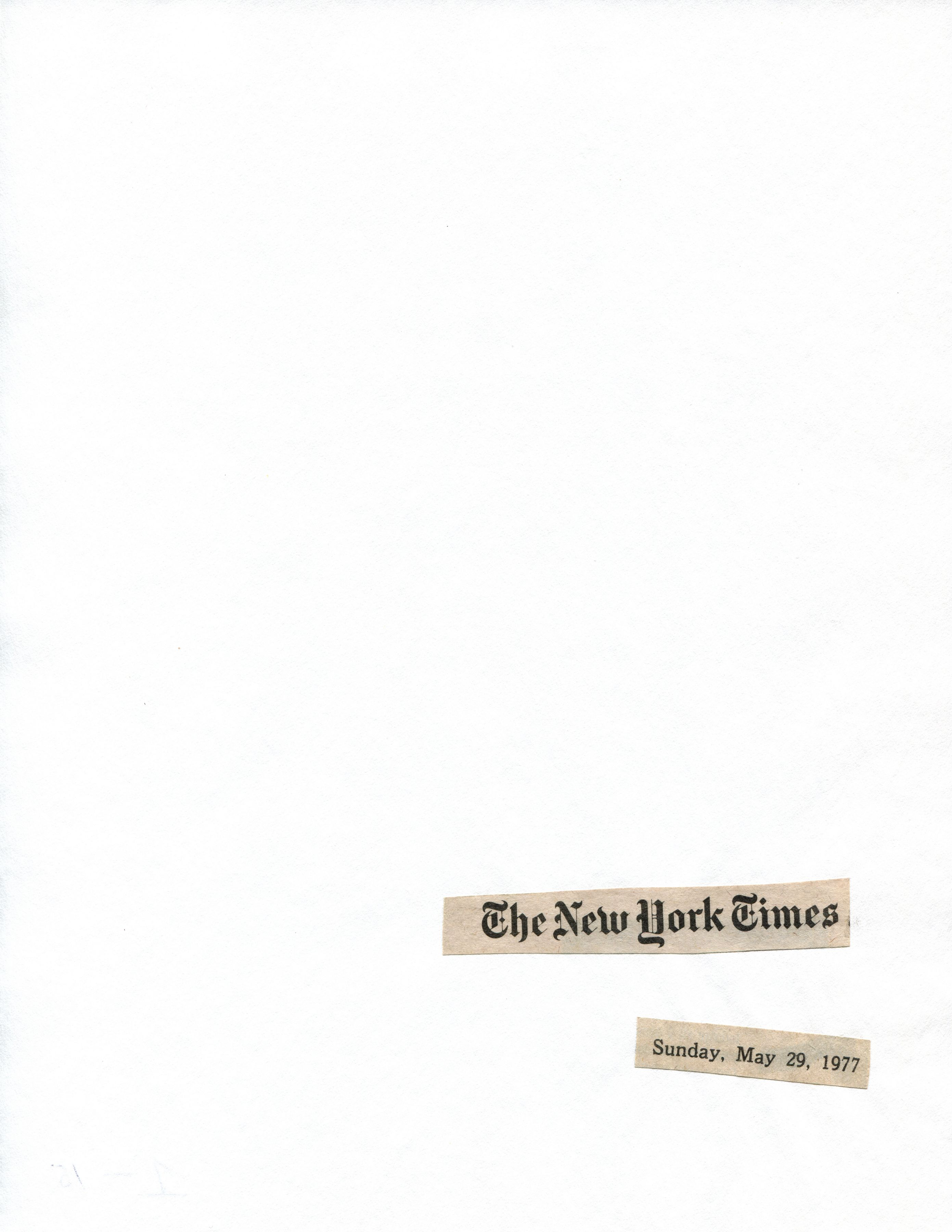 Cutting Out The New York Times, Coins of the 'Rebellion,' 1977, Toner ink on adhesive paper, part 1 of 15, 11.02h x 7.87w in (27.99h x 19.99w cm)
