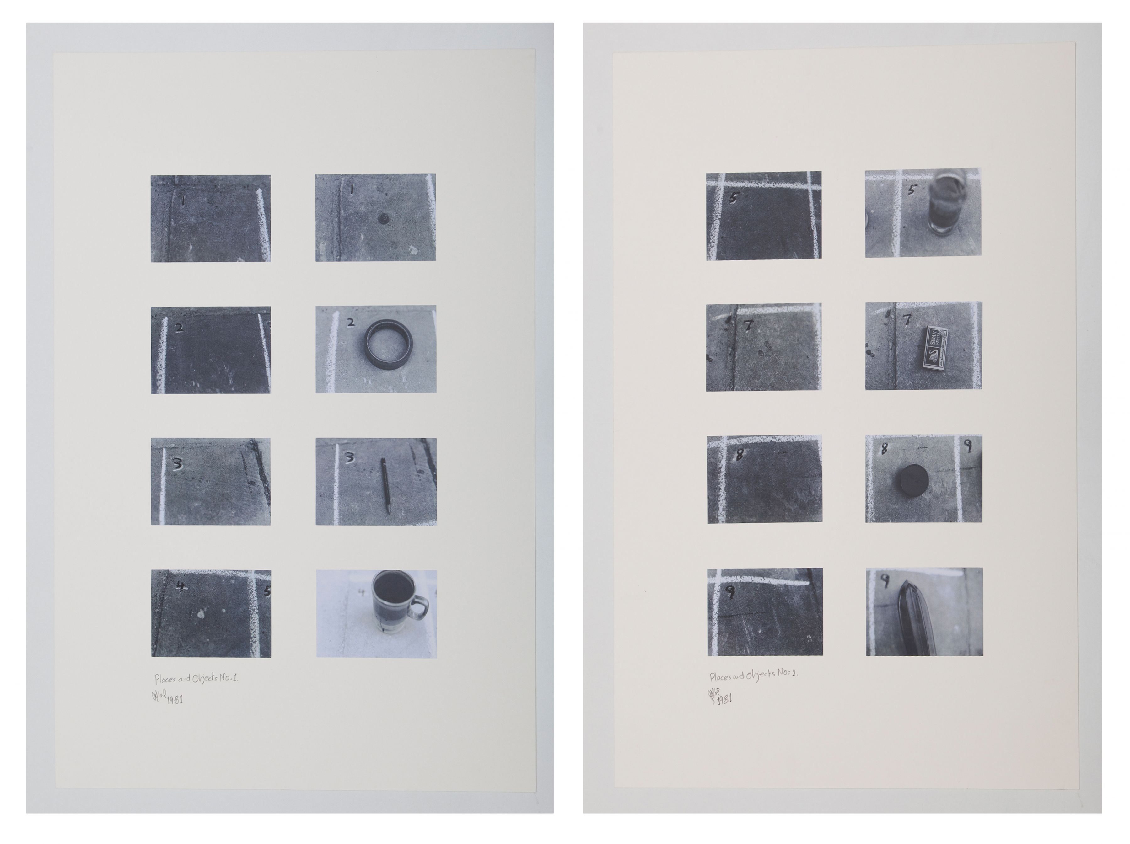 Places and Objects, 1981, Photographs on cardboard