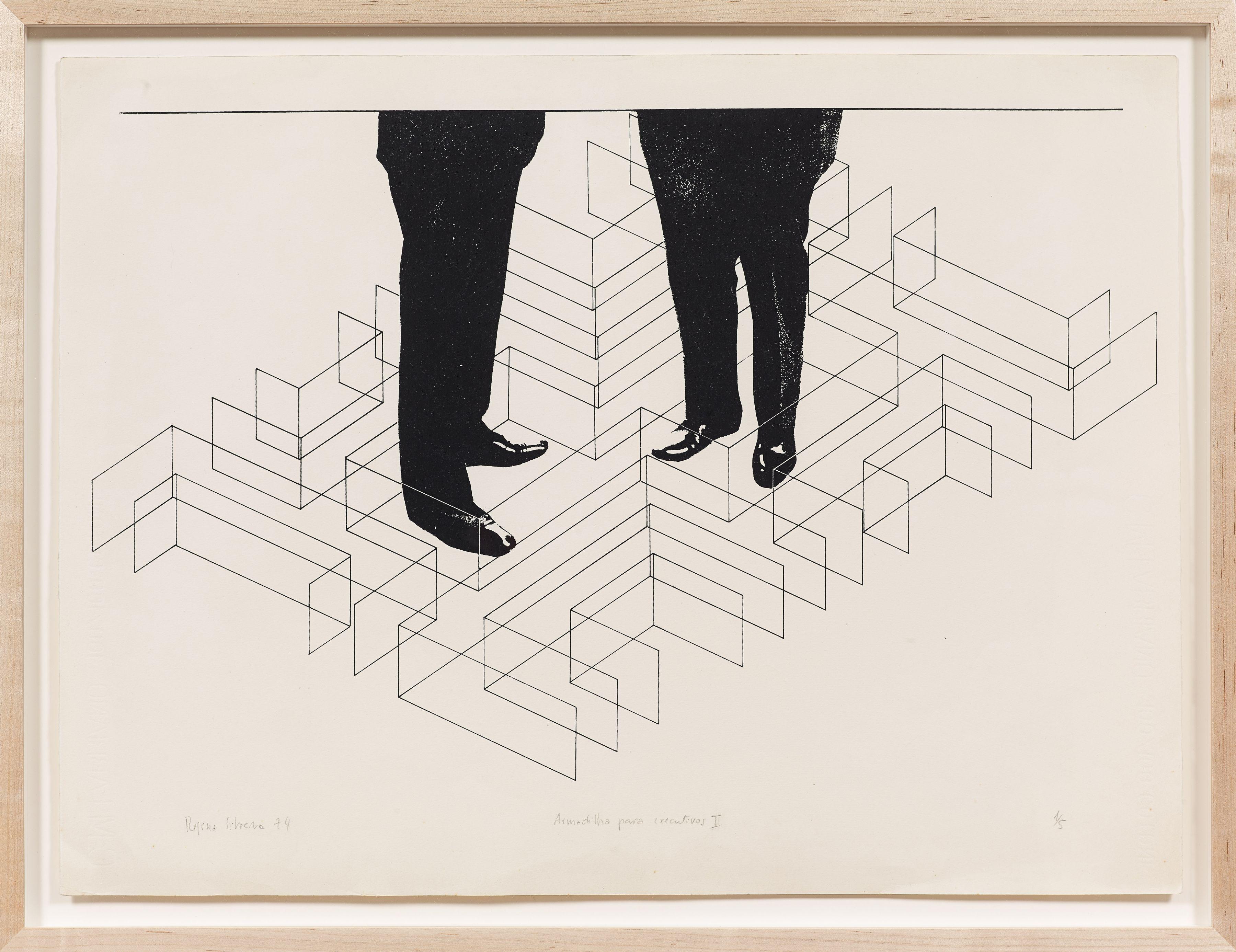 Armadilha para executivos I, 1974, Silkscreen, 21.85h x 27.75w in (55.51h x 70.49w cm)