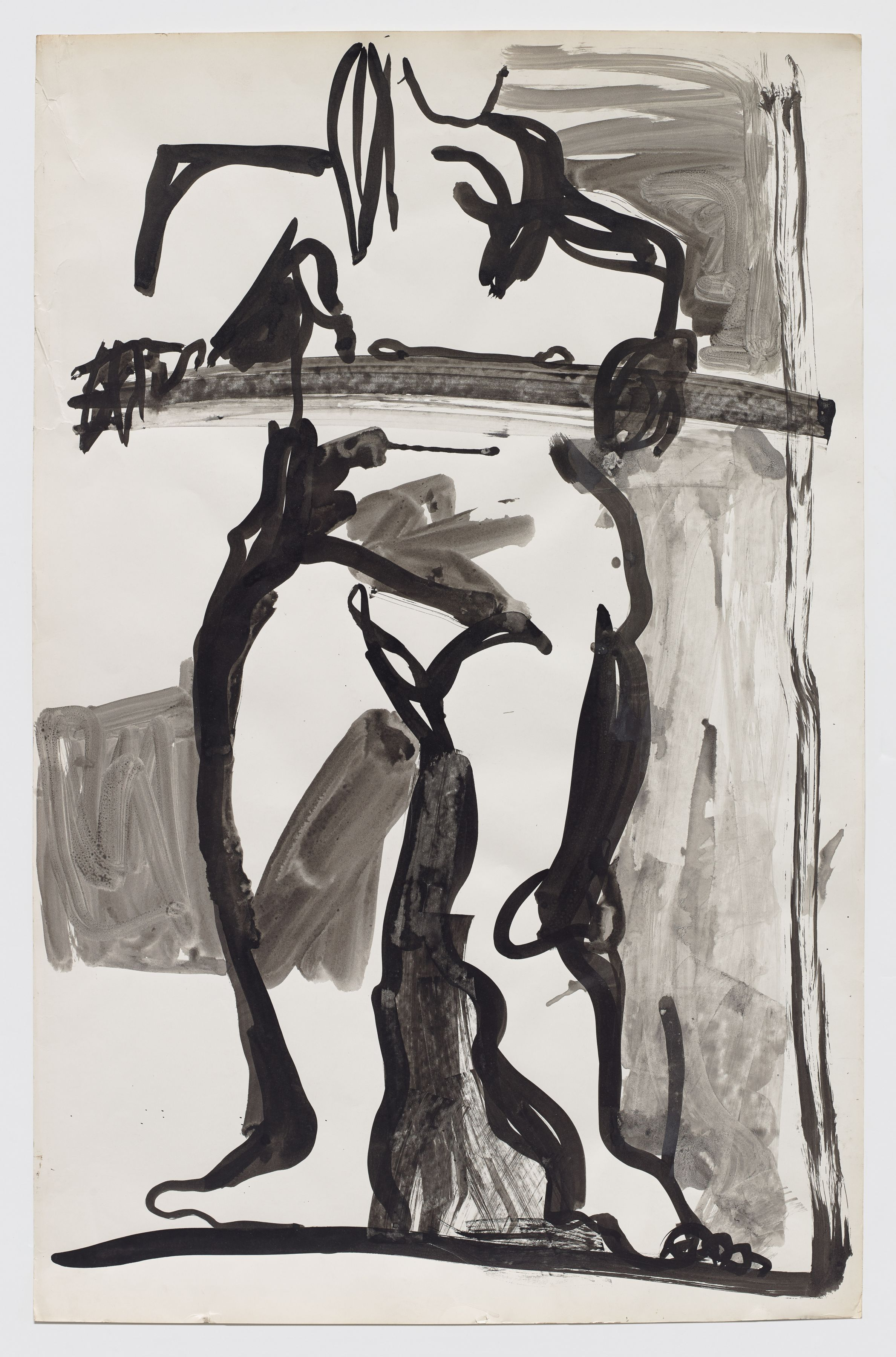 Untitled (figure study), c. 1971, Mixed media on paper