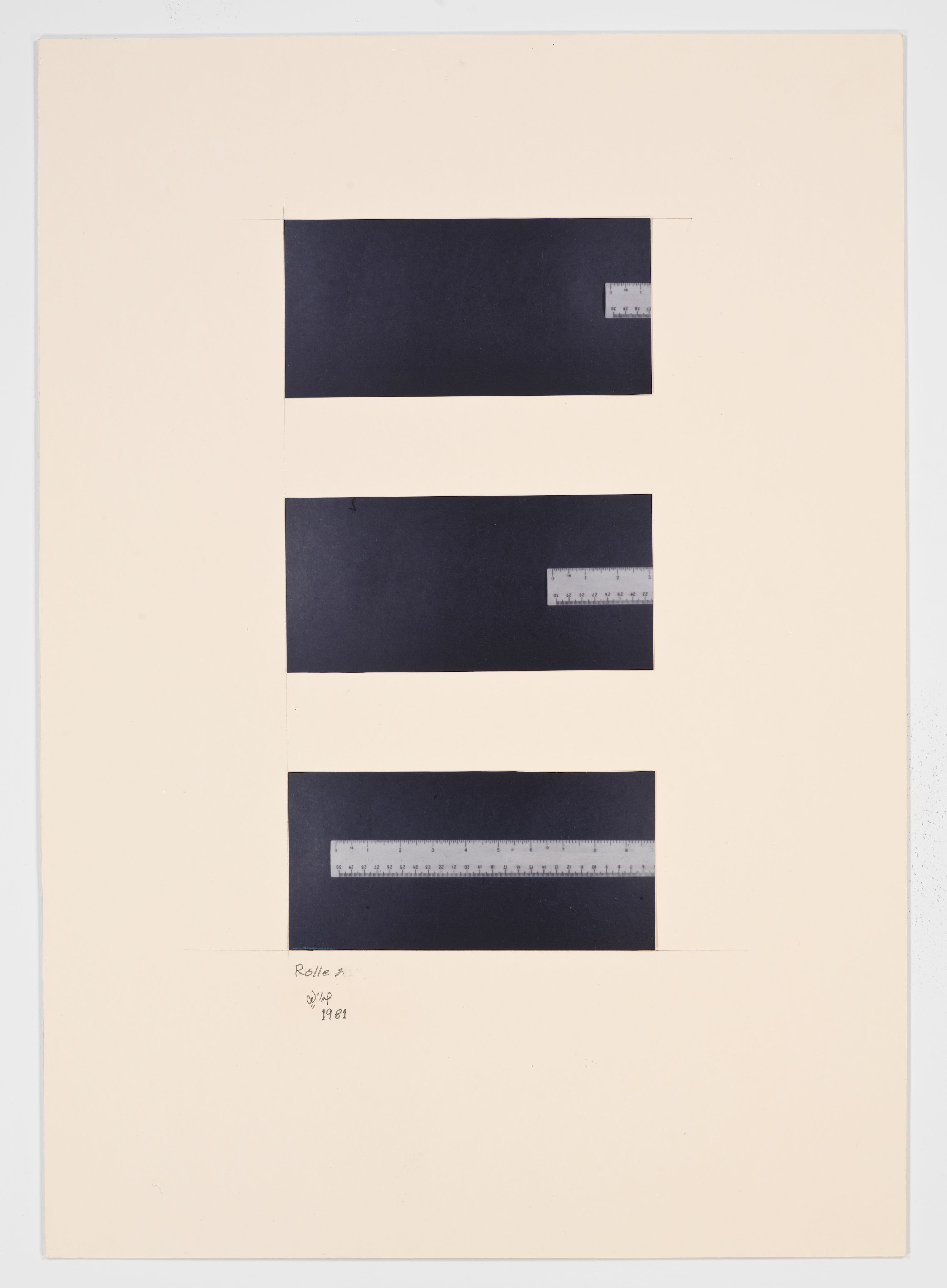Ruler, 1981, Photographs on matteboard in 3 parts