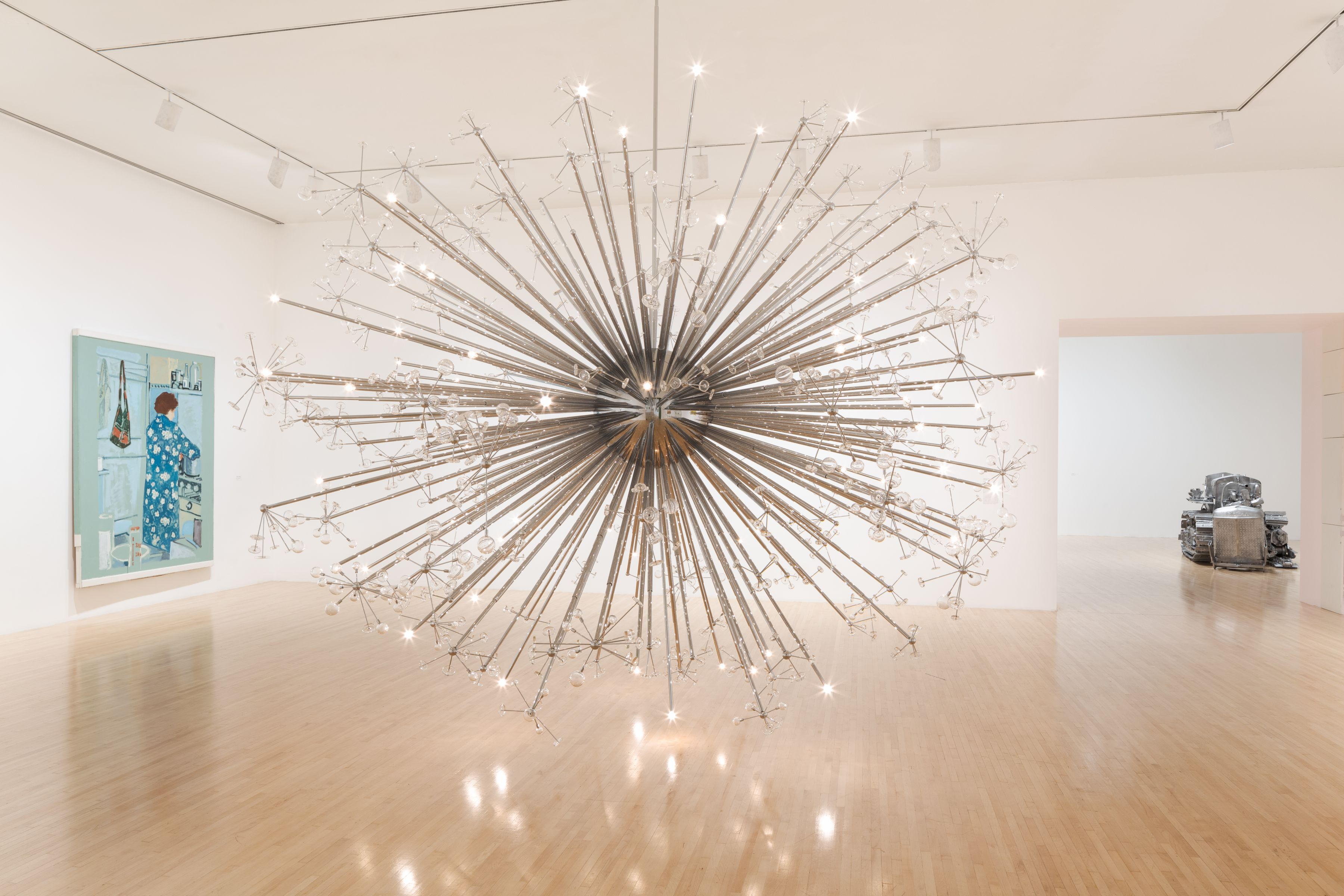 Josiah McElheny, An End to Modernity, 2005, Nickel-plated aluminum, electric lighting, hand-blown glass, steel cable, rigging