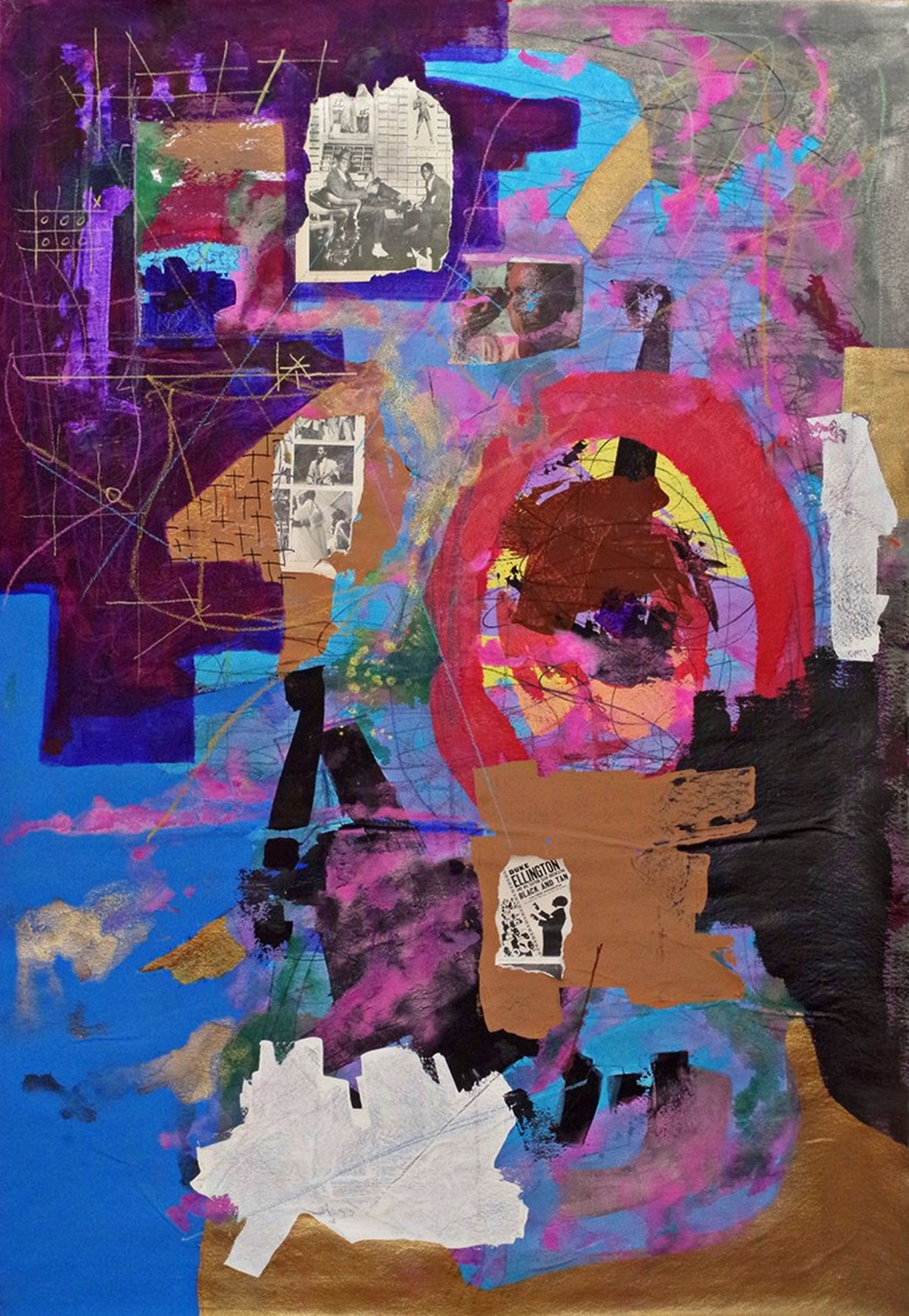 Kwesi Abbensetts, Martyrs For The Spirit, 2018,  Acrylic on canvas, 78 x 48 inches, Abstract painting with layers of brown, blue, purple paint and thin line marks on top, Kwesi Abbensetts is a New York based painter.