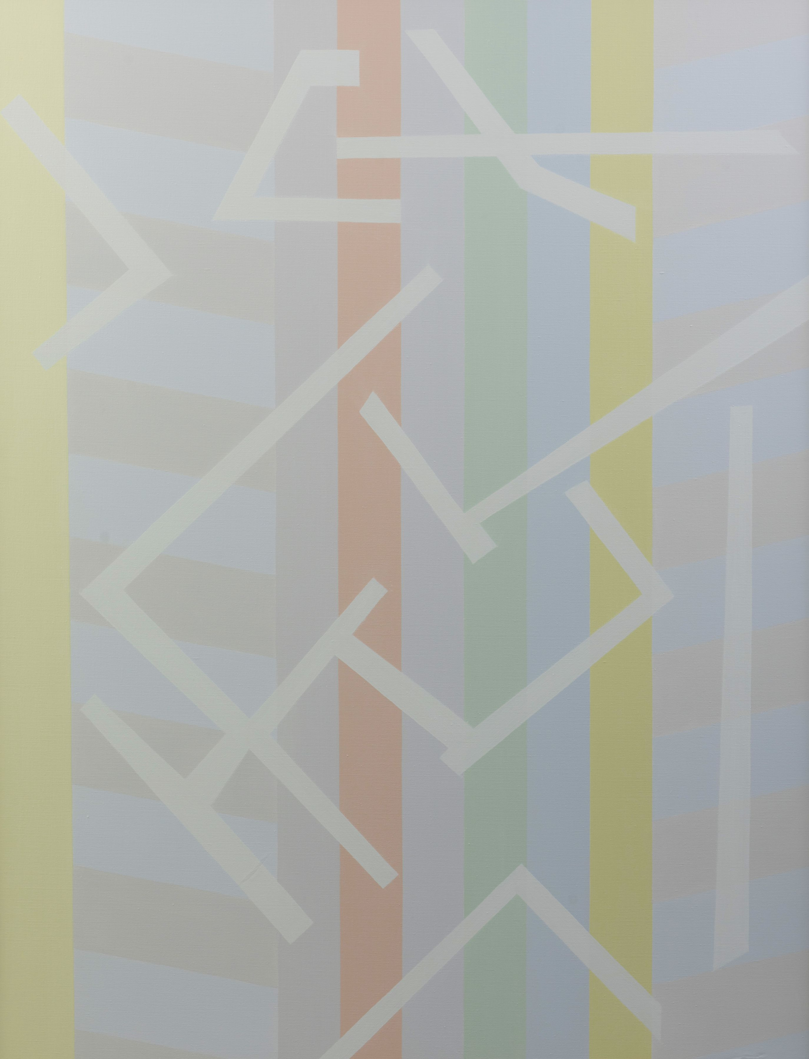 Felrath Hines, Hieroglyphic, 1985,  Oil on canvas, 40 x 52 inches. Soft composition with over lapping geometric shapes in grey and pastel colors. Felrath Hines worked to create universal visual idioms from a place of complex personal experience. His figurative and cubist-style artwork morphed into soft-edged organic abstracts as he grappled with hues in his chosen oil medium.