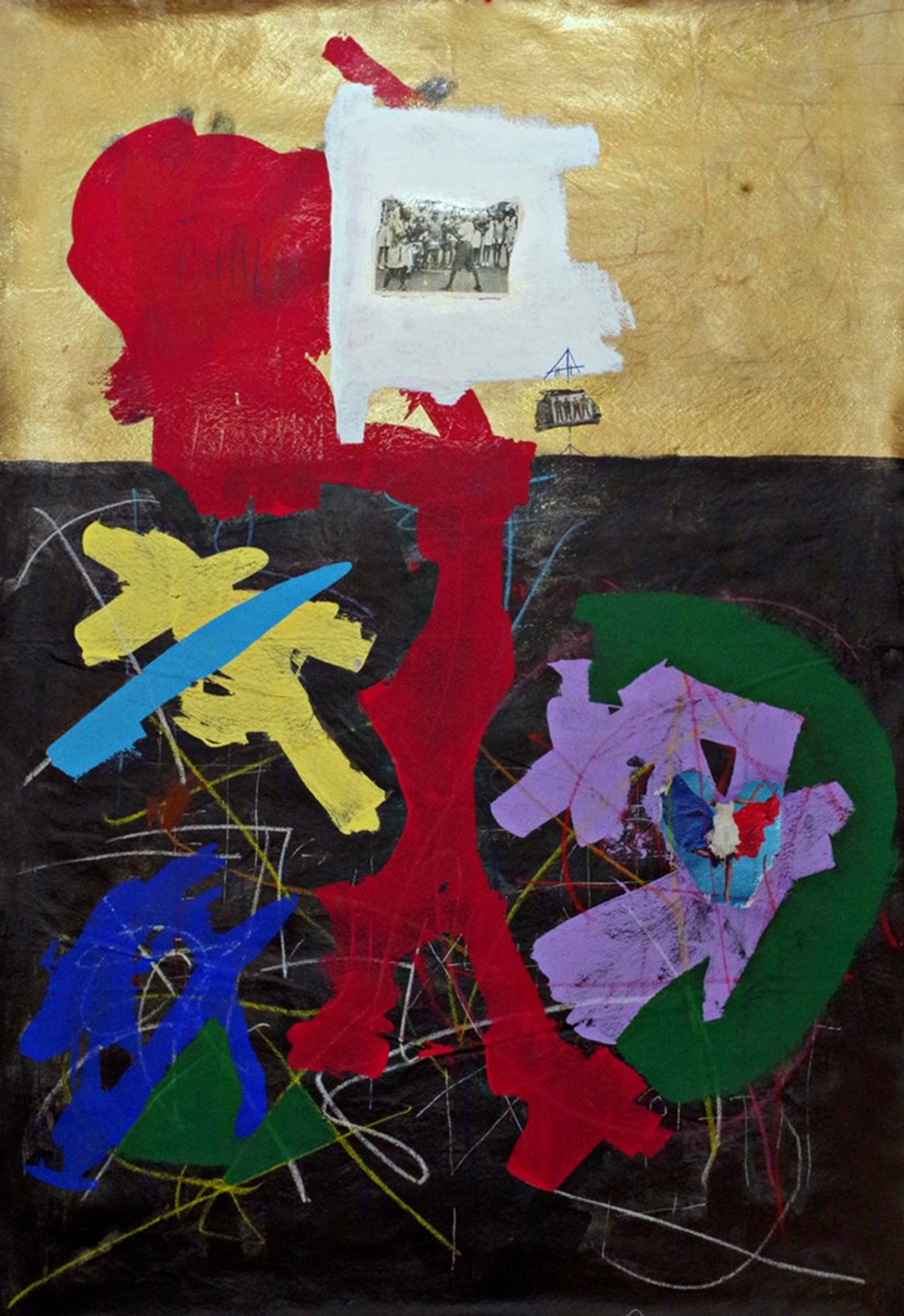 Kwesi Abbensetts, A Fighting Love, 2018,  Acrylic on canvas, 78 x 48 inches, Abstract painting divided into black and gold rectangles with red, blue, yellow, green and violet marks on top, Kwesi Abbensetts is a New York based painter.