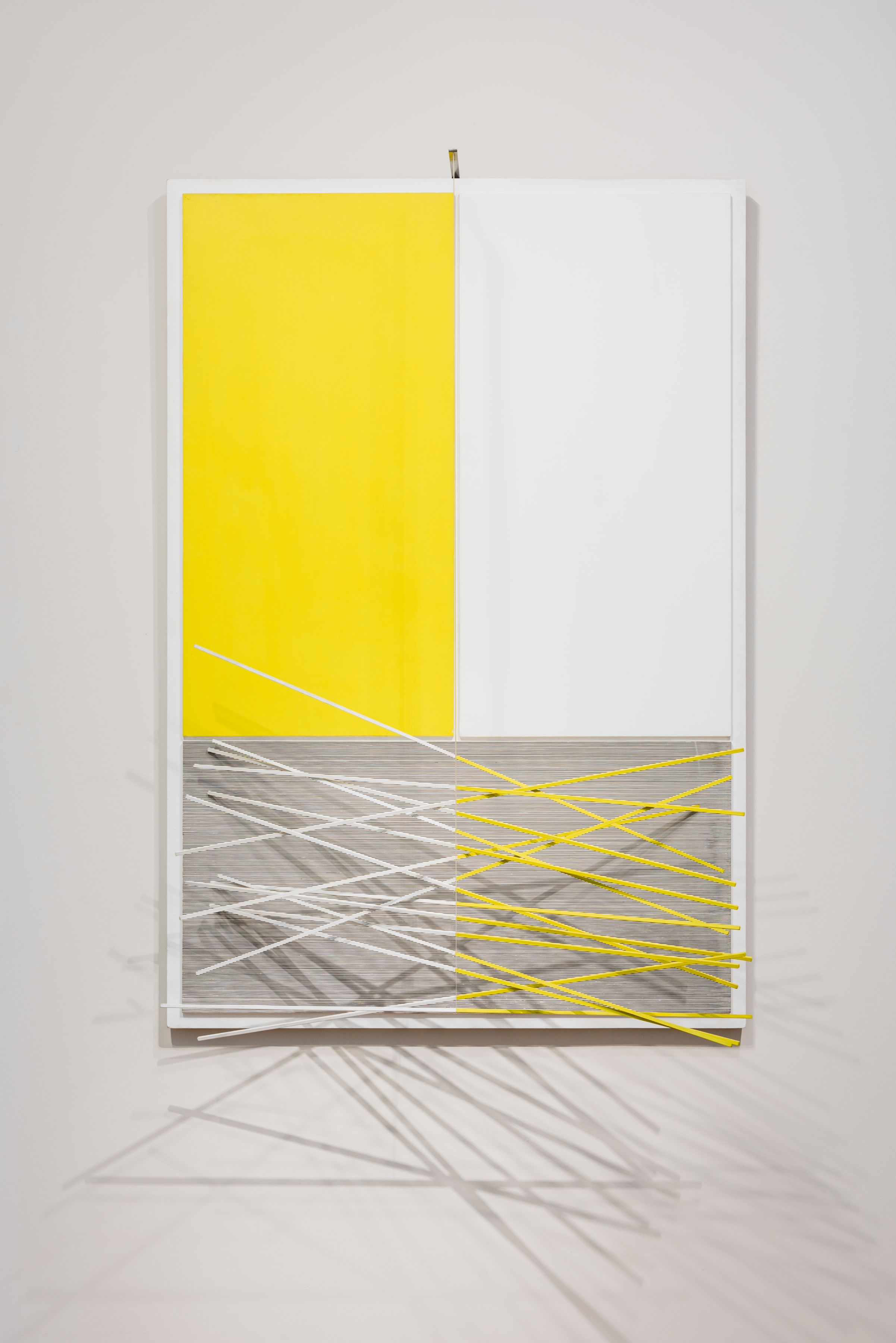 Jesús Rafael Soto,Barres et Rectangles Jaunes et Blancs, 1965,Acrylic on board with aluminum rods and nylon wire,62 x 42 1/2 x 23 in. (157.5 x 108 x 58.5 cm.)