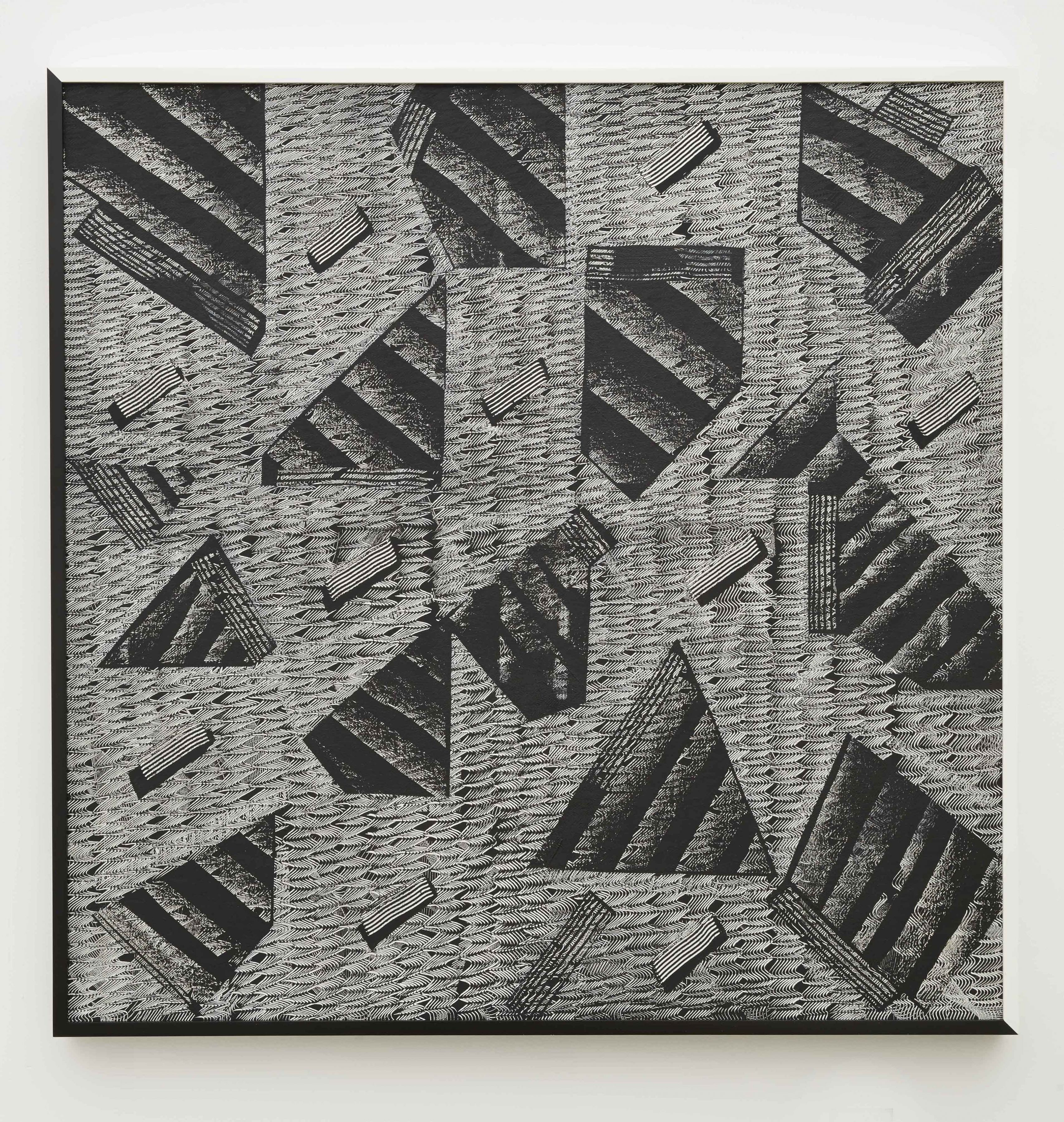 an abstract painting of black and white shapes by artist Julia Dault