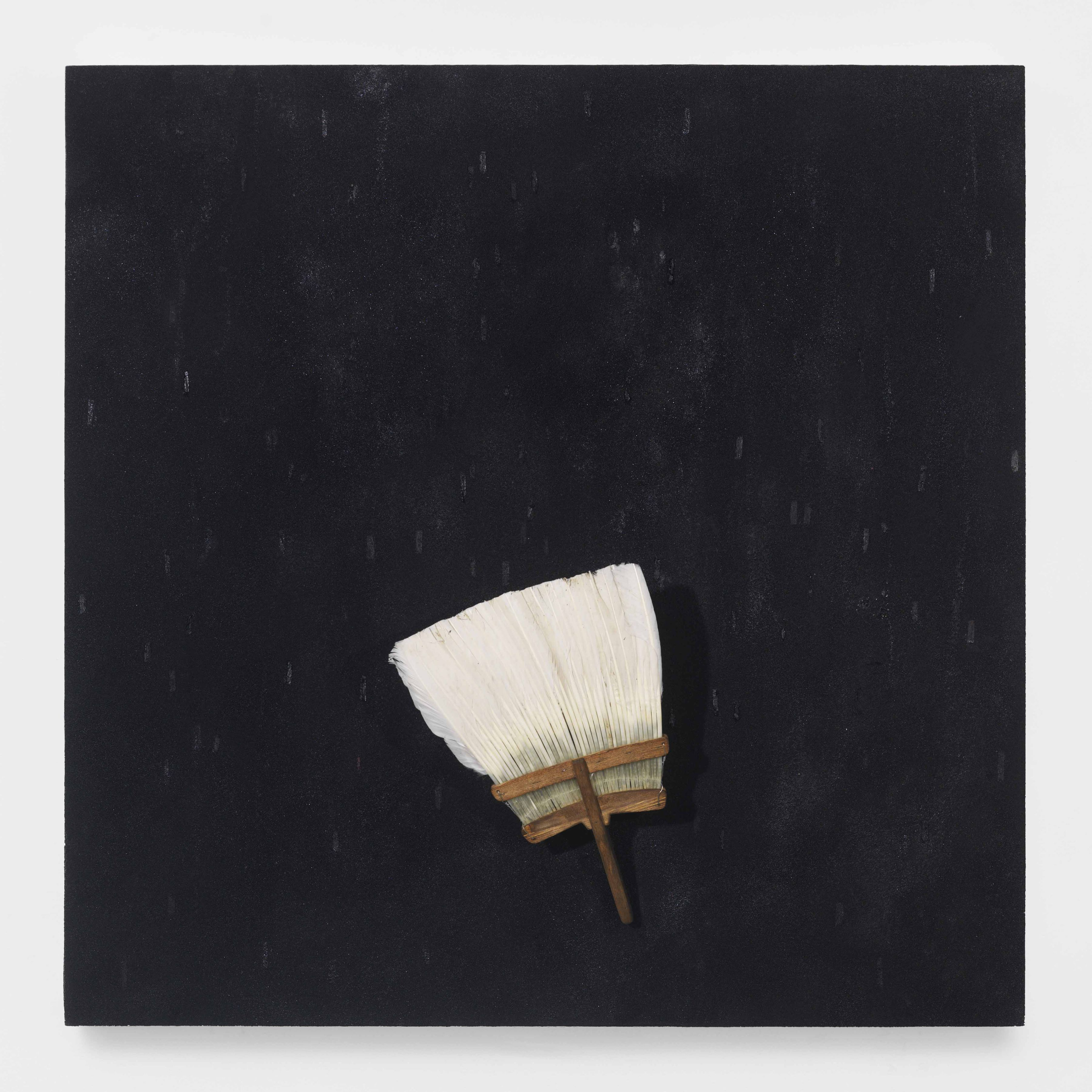 broom painting by Pier Paolo Calzolari for sale in a Chelsea New York gallery