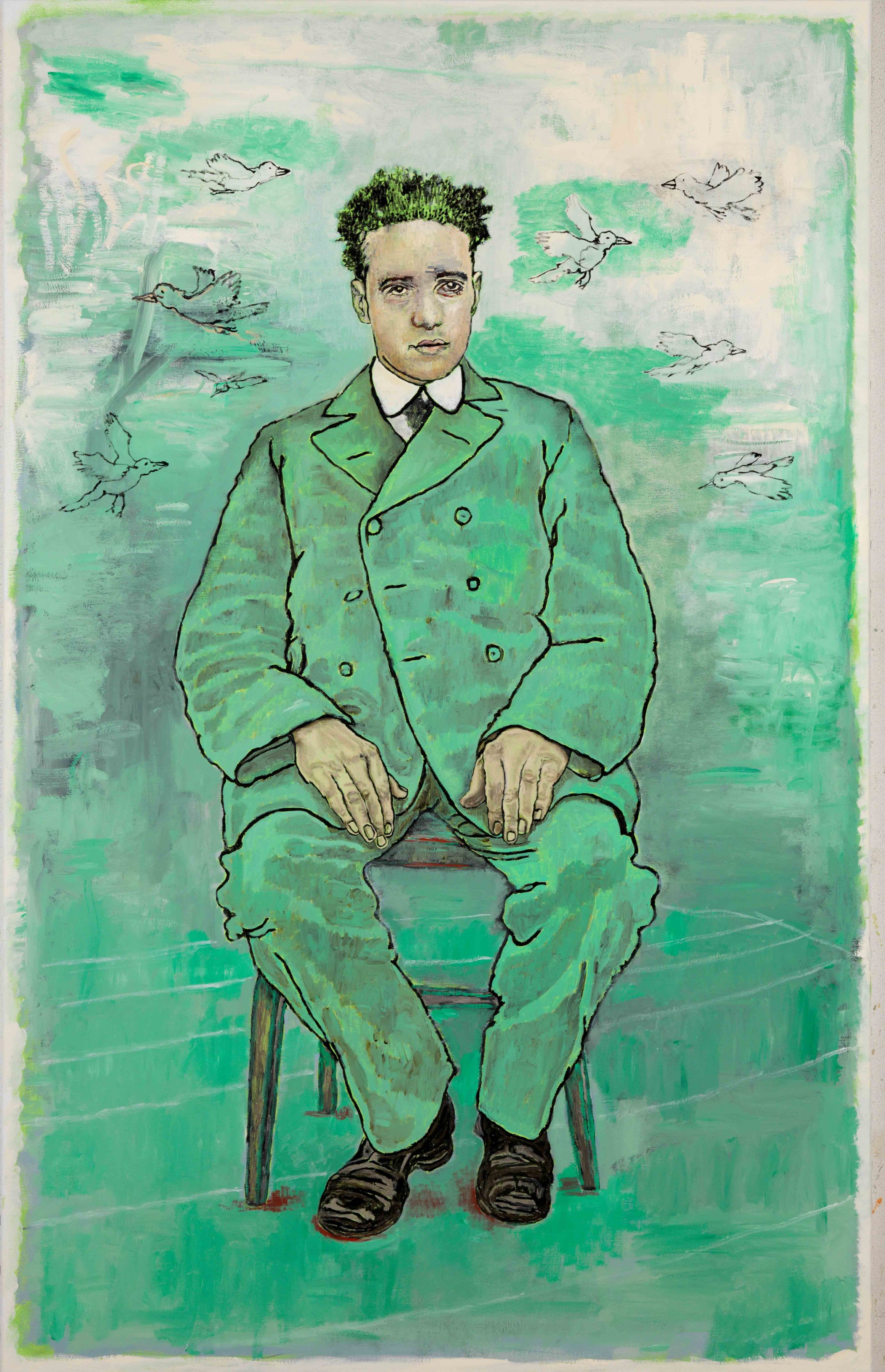 a contemporary painting of a seated man in a green suit with green hair by artist Hannah van Bart