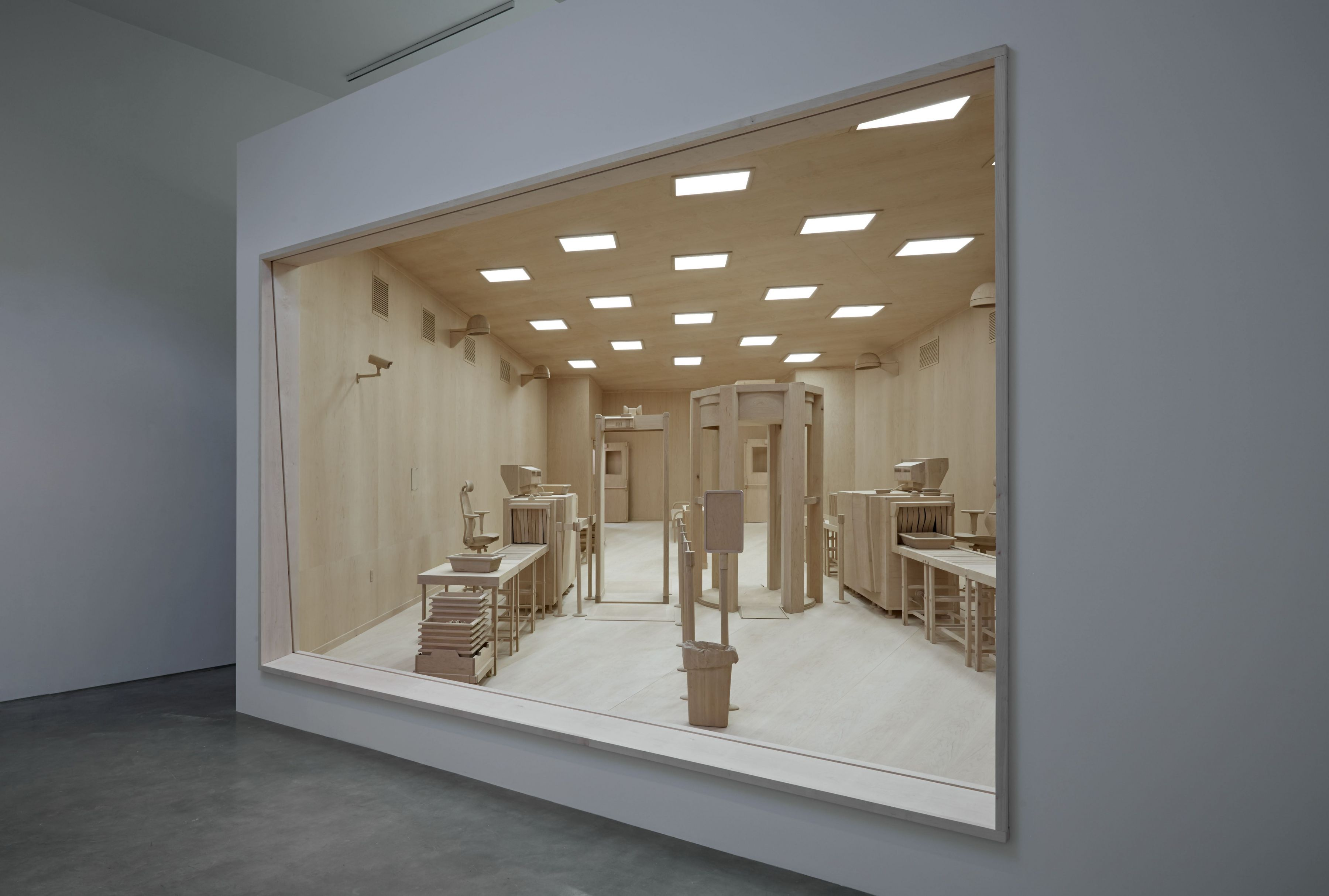 wood security checkpoint model by roxy paine