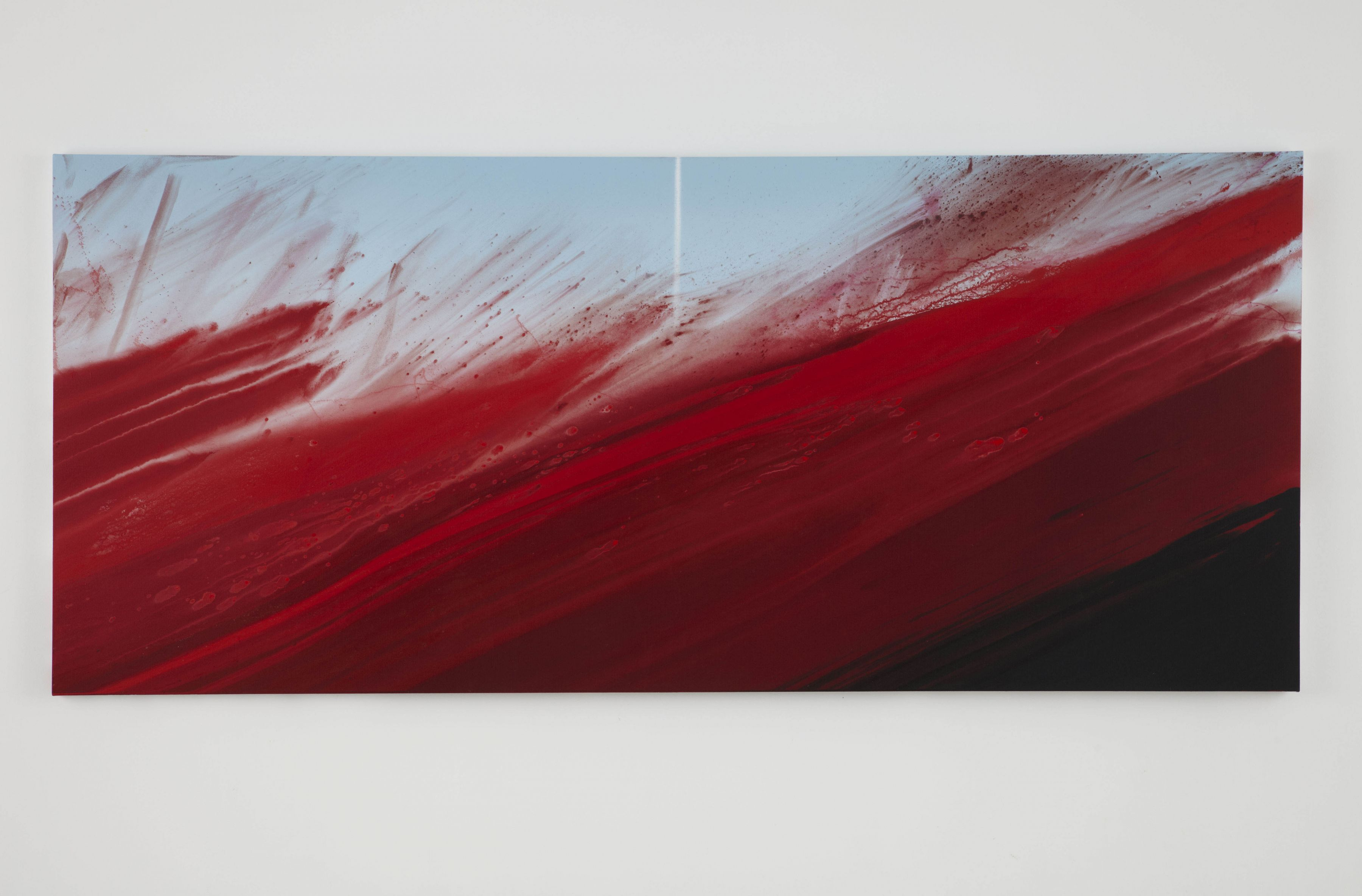a large horizontal red abstract painting by barnaby furnas in a chelsea art gallery