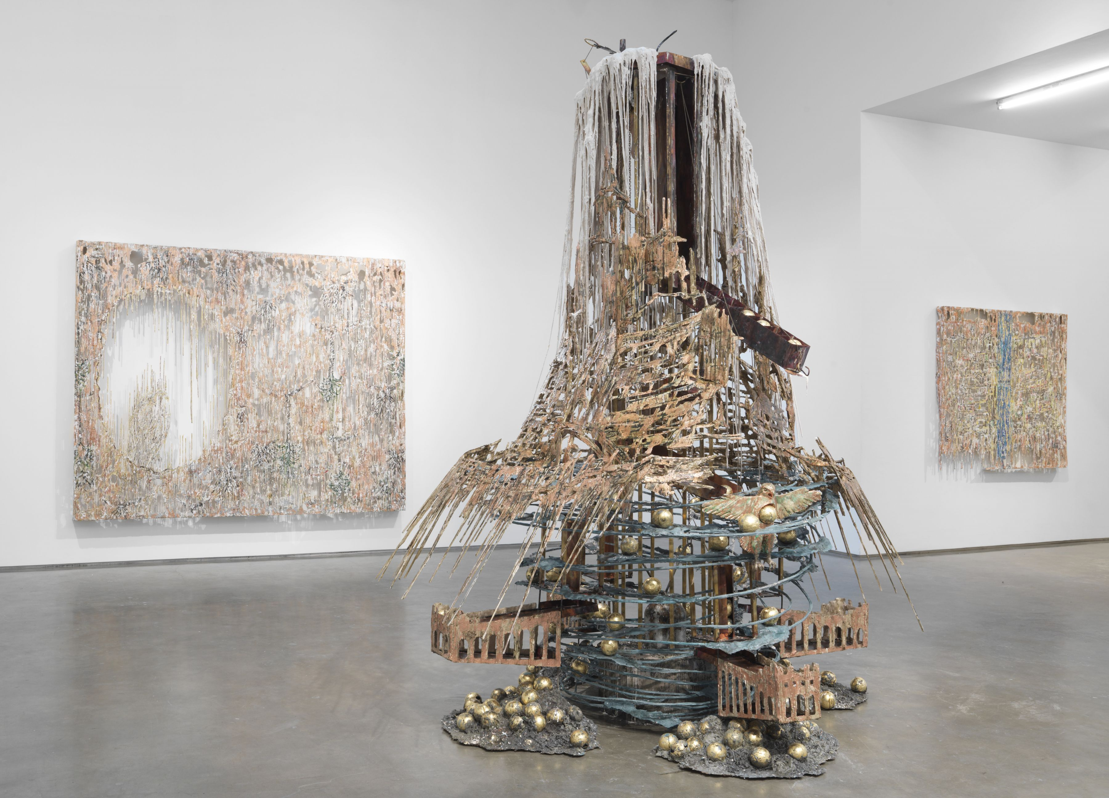 an installation view of an exhibition of the artworks of Diana Al-Hadid