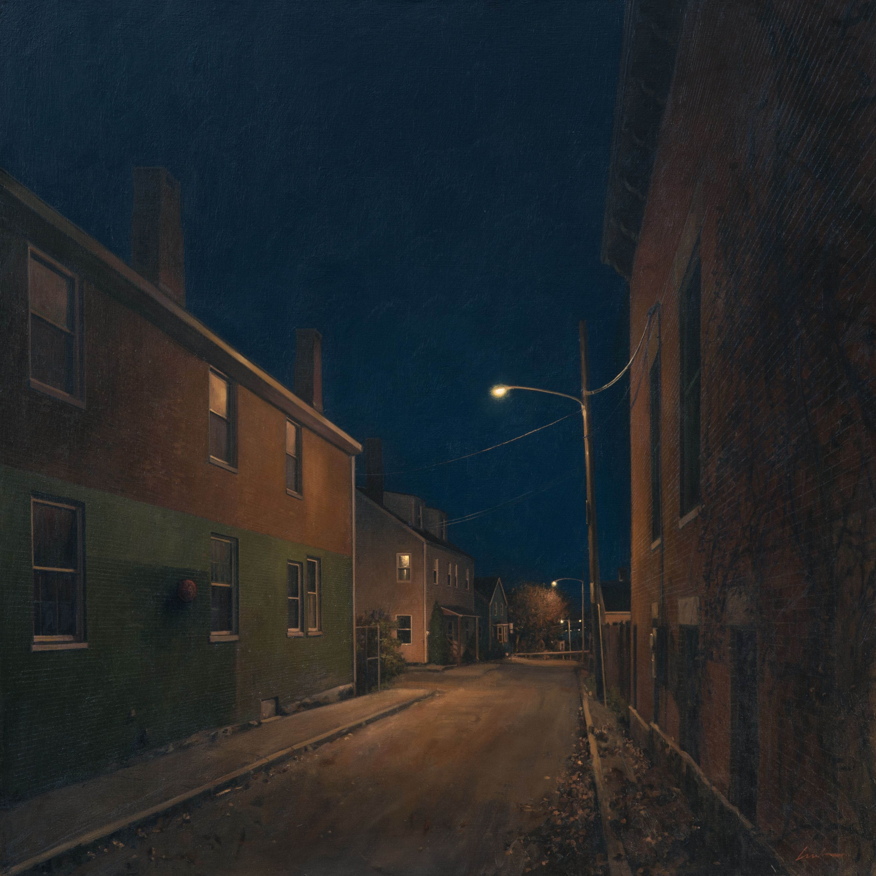 linden frederick, Night Off (SOLD), 2016, oil on linen, 36 x 36 inches, this painting inspired the short story, Alley's End, by Luanne Rice