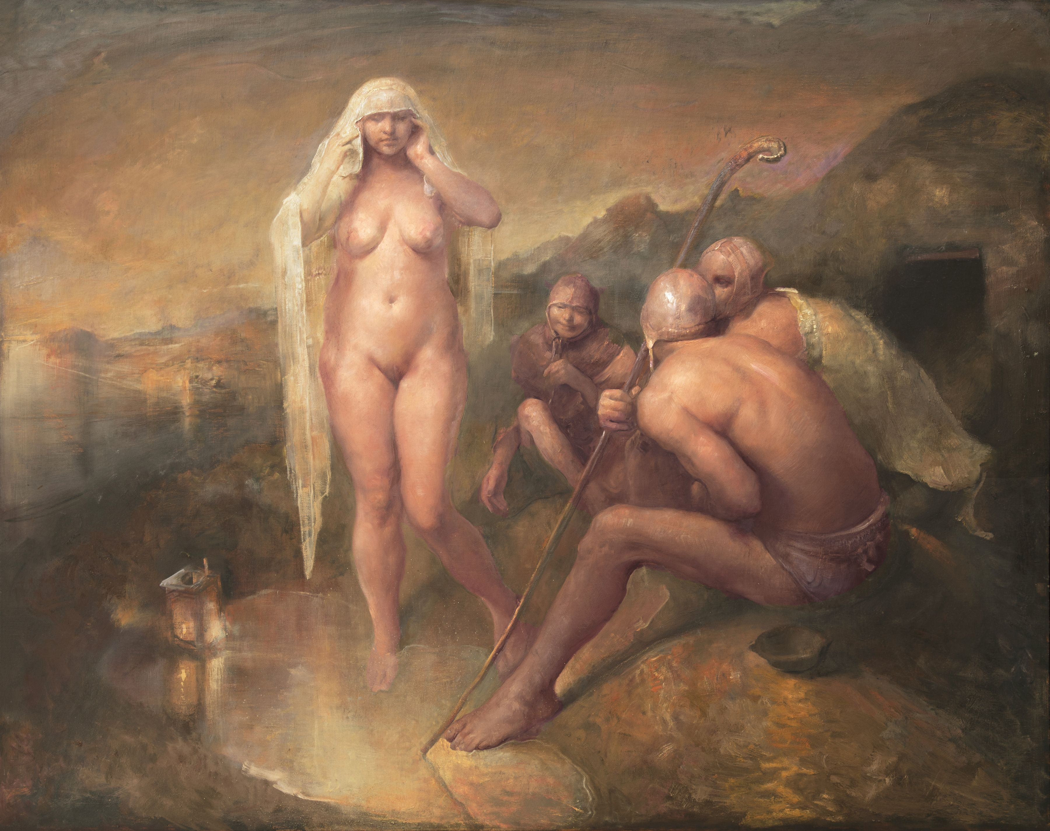 odd nerdrum, Look at my Beauty, oil on canvas, 58 x 74 inches