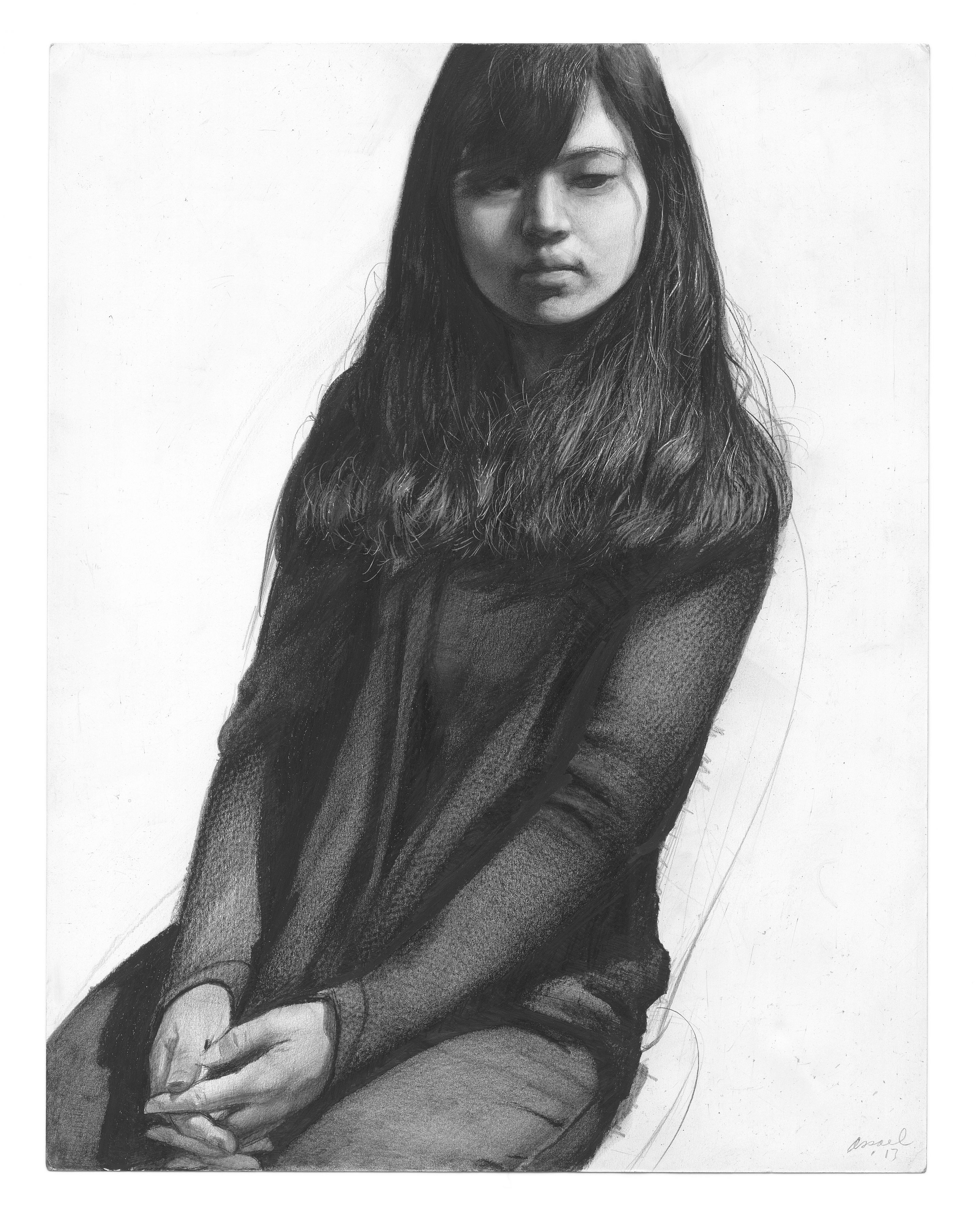steven assael, Suezon Kim, 2013, graphite and crayon on paper, 14 x 11 inches