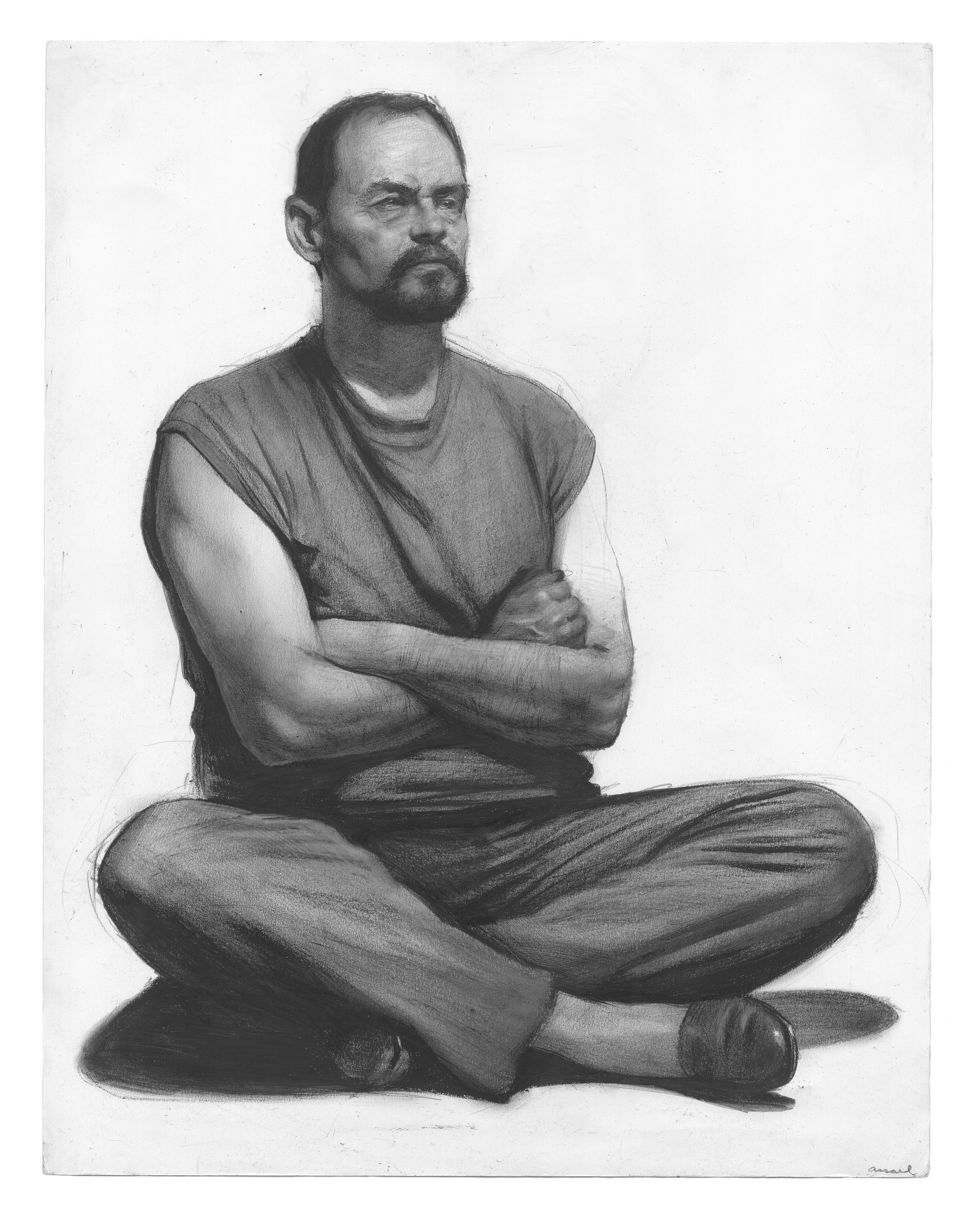 Steven Assael, Man with Crossed Arms (recto), 2013, graphite and crayon on paper, 11 x 14 inches