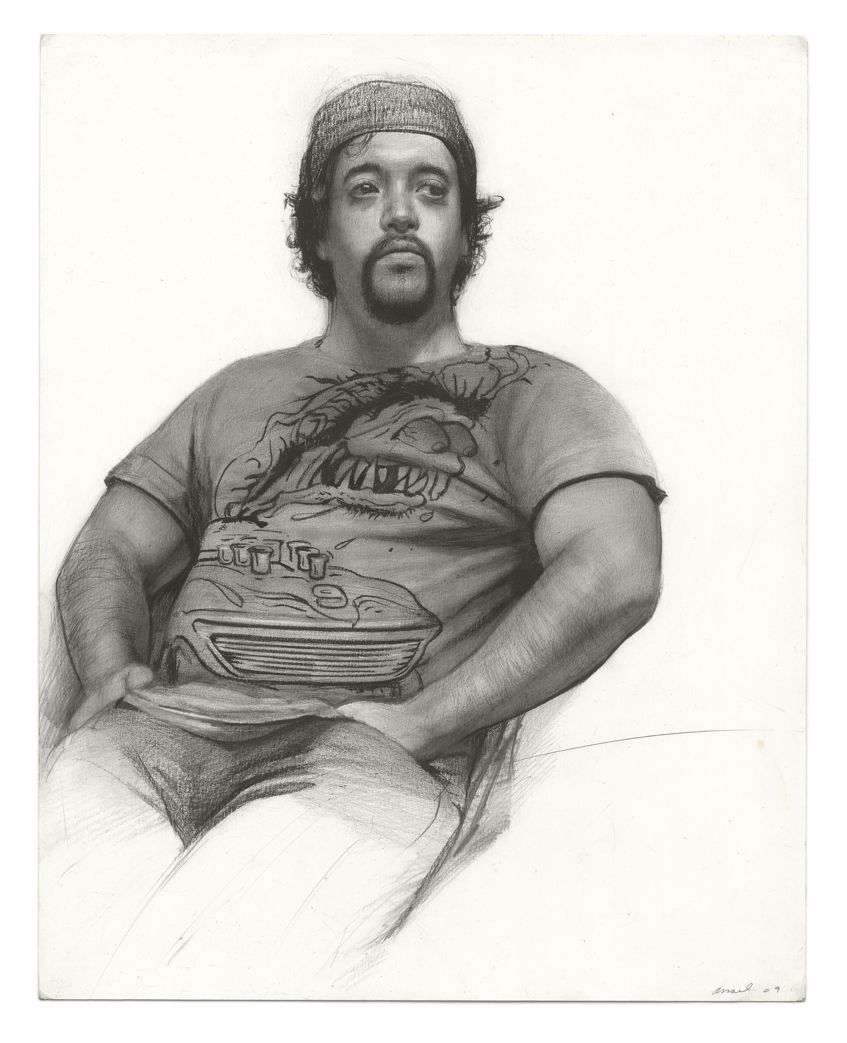 Steven Assael, Sal, 2009, graphite and crayon on paper, 14 x 11 1/4 inches