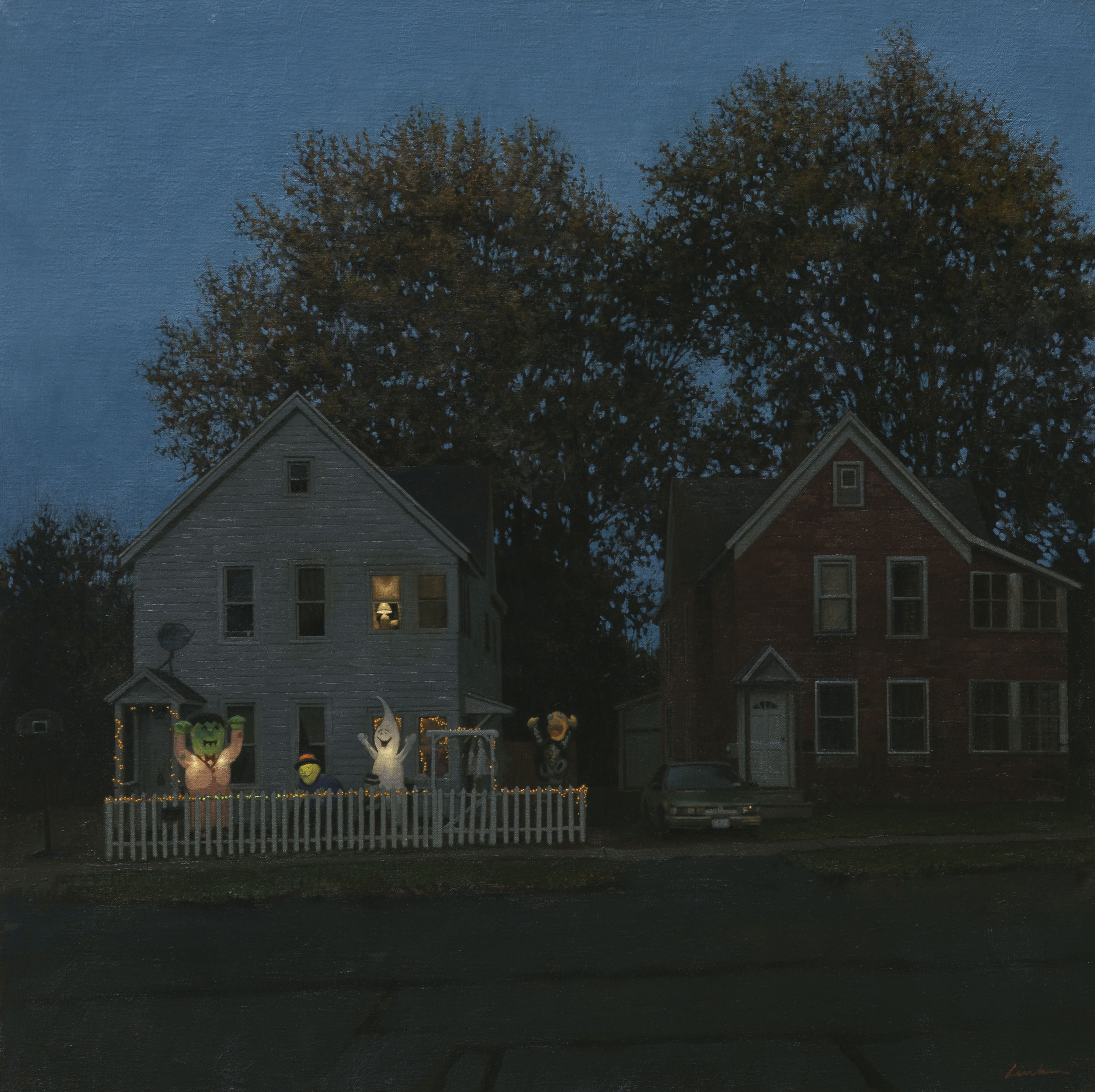 linden frederick, Haunted (SOLD), 2014, oil on linen, 34 x 34 inches