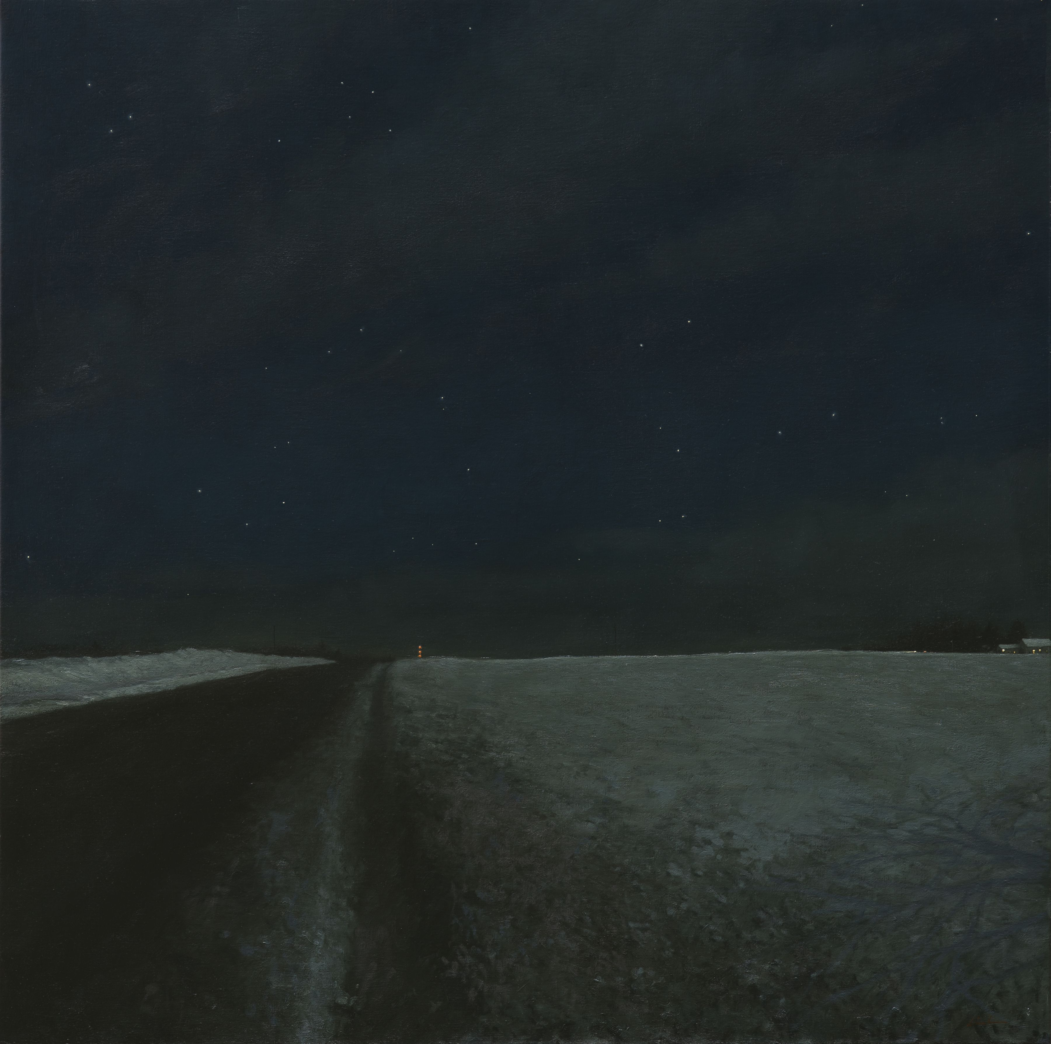 linden frederick, Hunger Moon, 2014, oil on linen, 45 1/2 x 45 1/2 inches