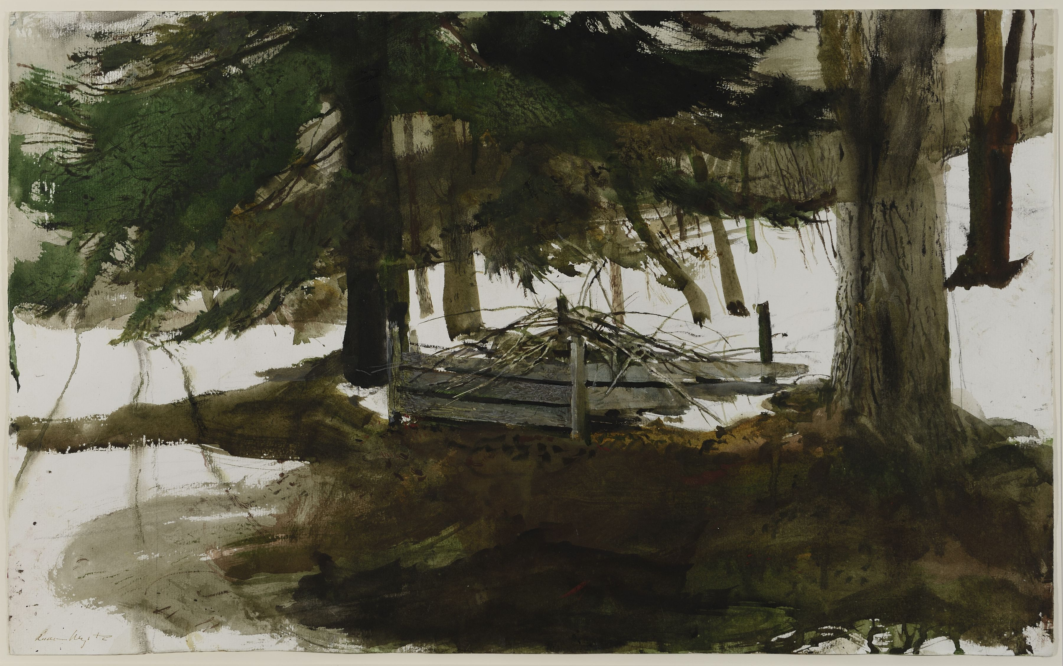 Andrew Wyeth, Pickup Sticks, 1994, watercolor and gouache over pencil on paper, 16 3/4 x 27 1/4 inches