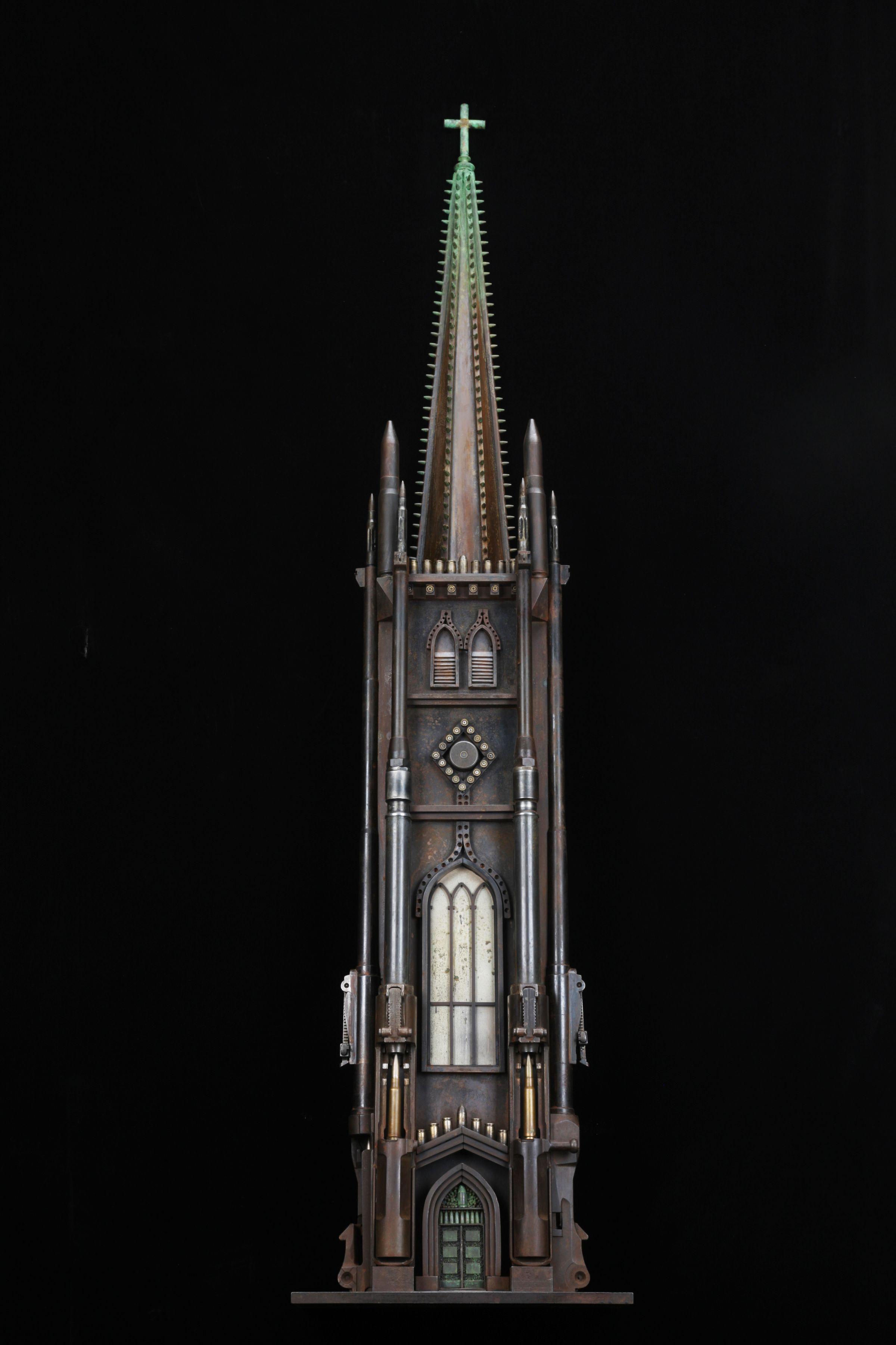 Al Farrow, Sketch of Trinity Church, 2014, guns, bullets, cartridge shells, steel, glass, 51 ½ x 12 x 7 inches