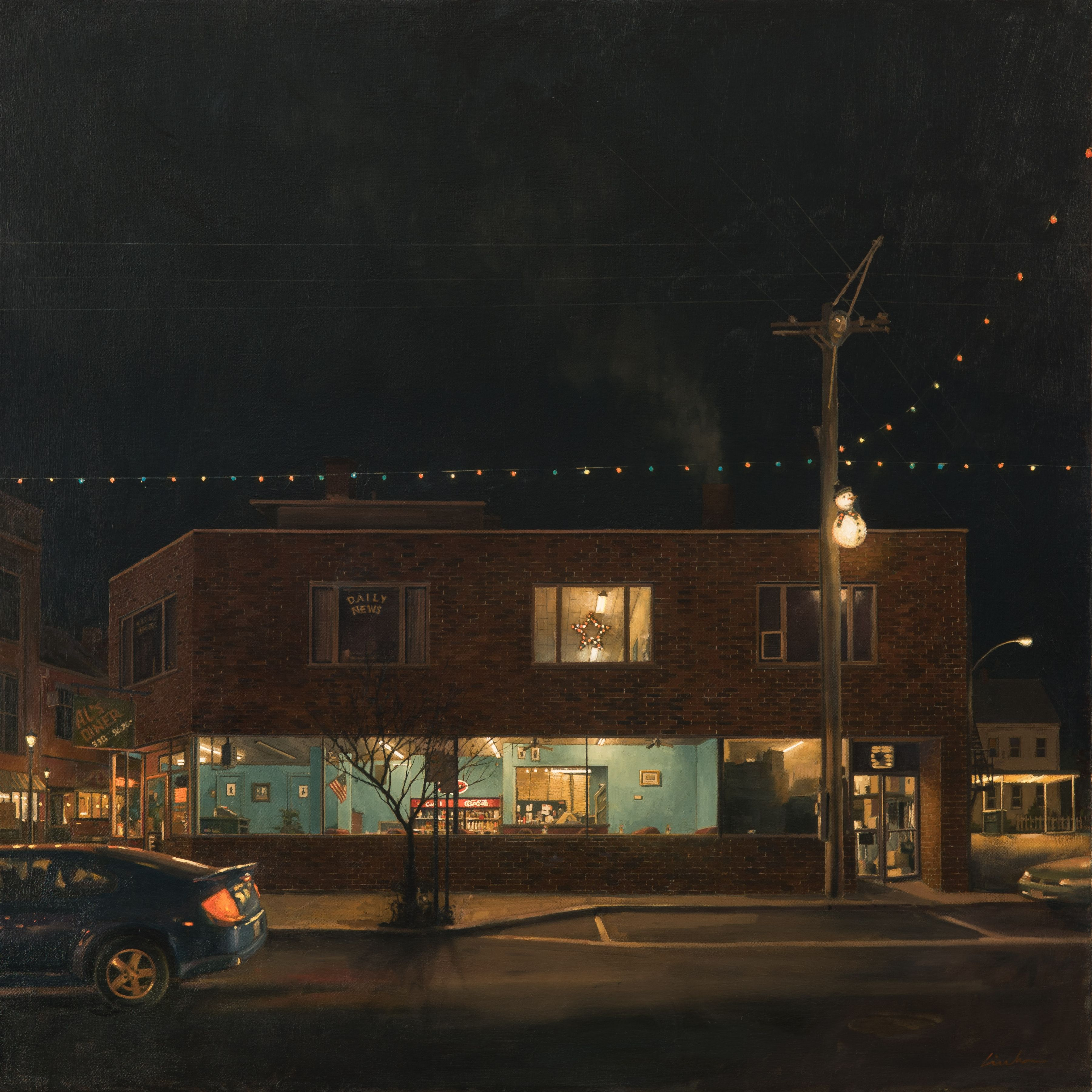 linden frederick, Takeout (SOLD), 2016, oil on linen, 36 x 36 inches, this painting inspired the short story, Takeout, by Tess Gerritsen