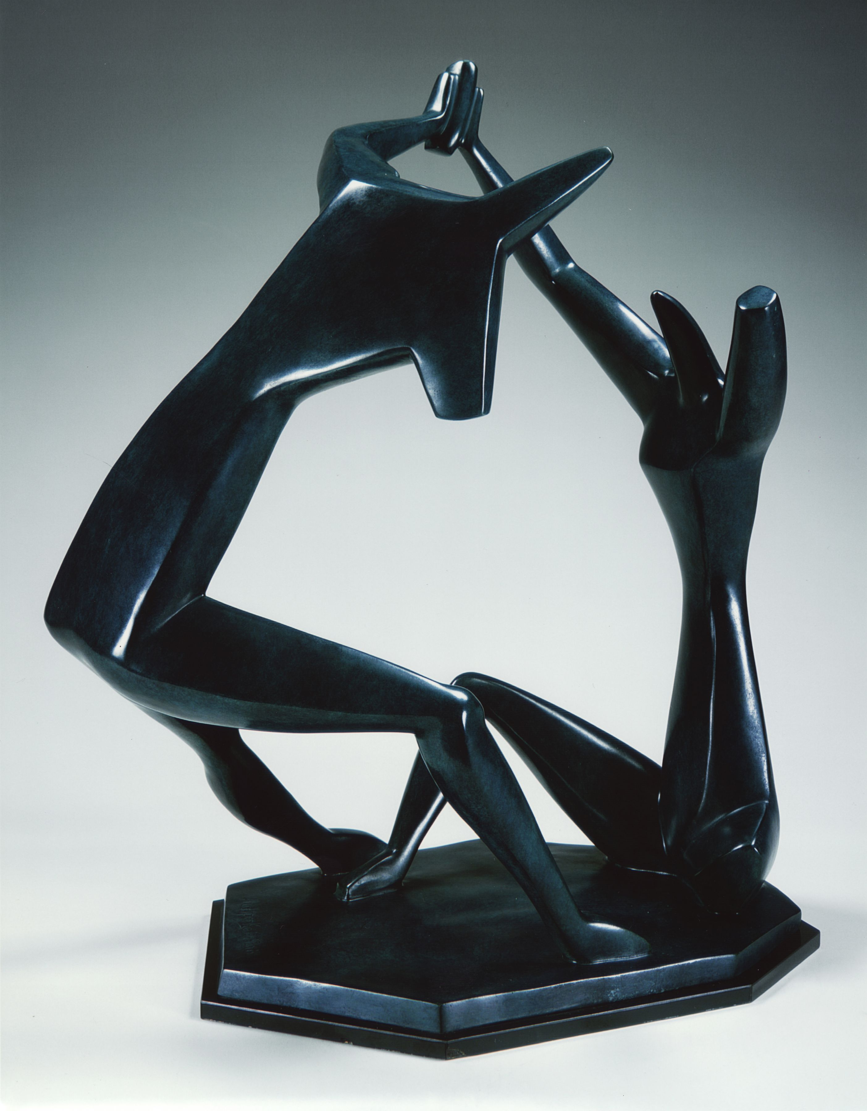 Alexander Archipenko, La Danse (Dance), 1912, cast in 1964, bronze, blue patina, 23 5/8 H x 18 1/4 W x 16 1/2 D inches, posthumous edition of 4