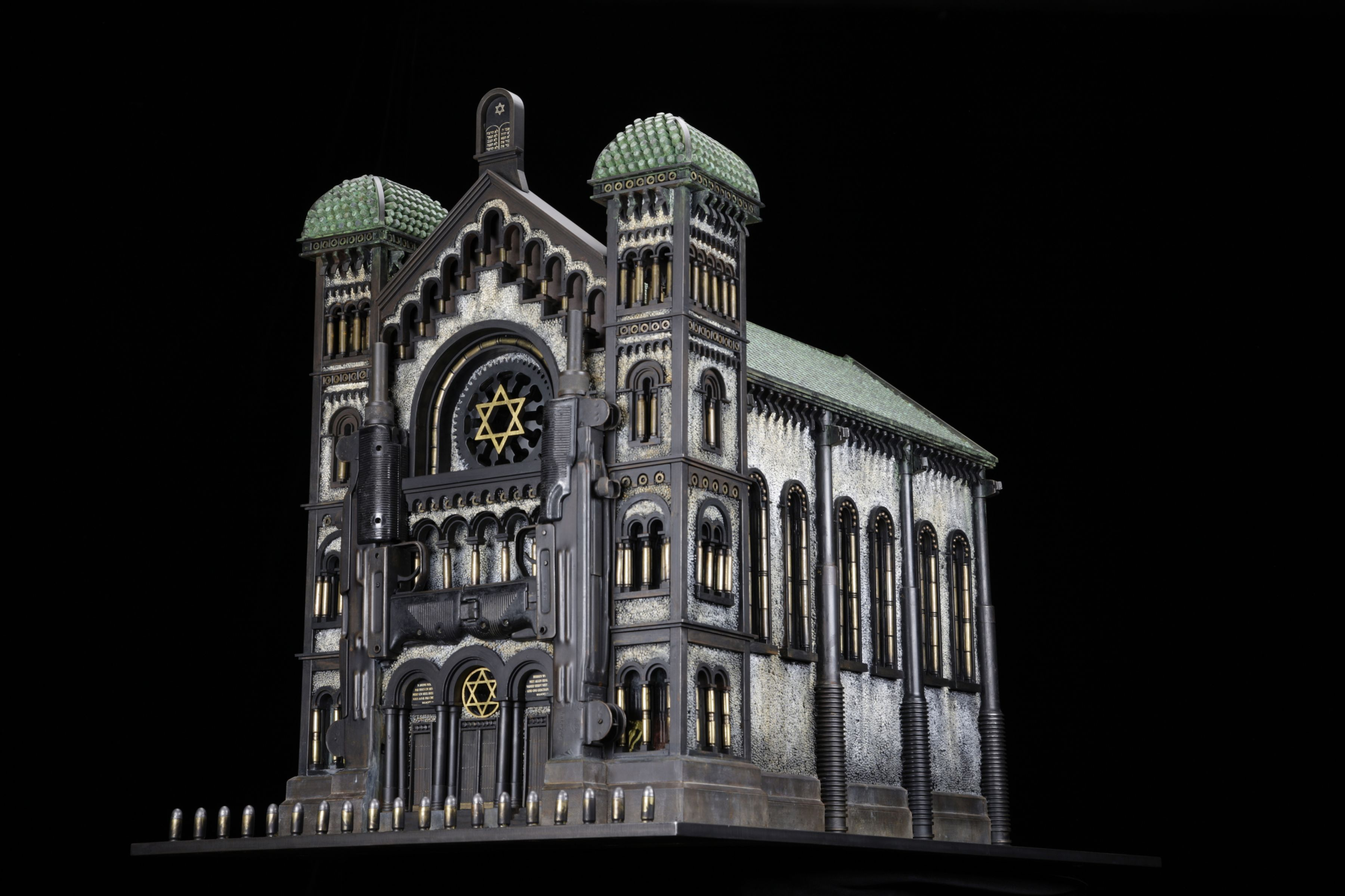 Al Farrow, Synagogue V (After the great Synagogue of Brussels), 2012, guns, gun parts, steel, bullets, shell casings, lead shot, glass, 31 ½ x 26 x 42 ½ inches