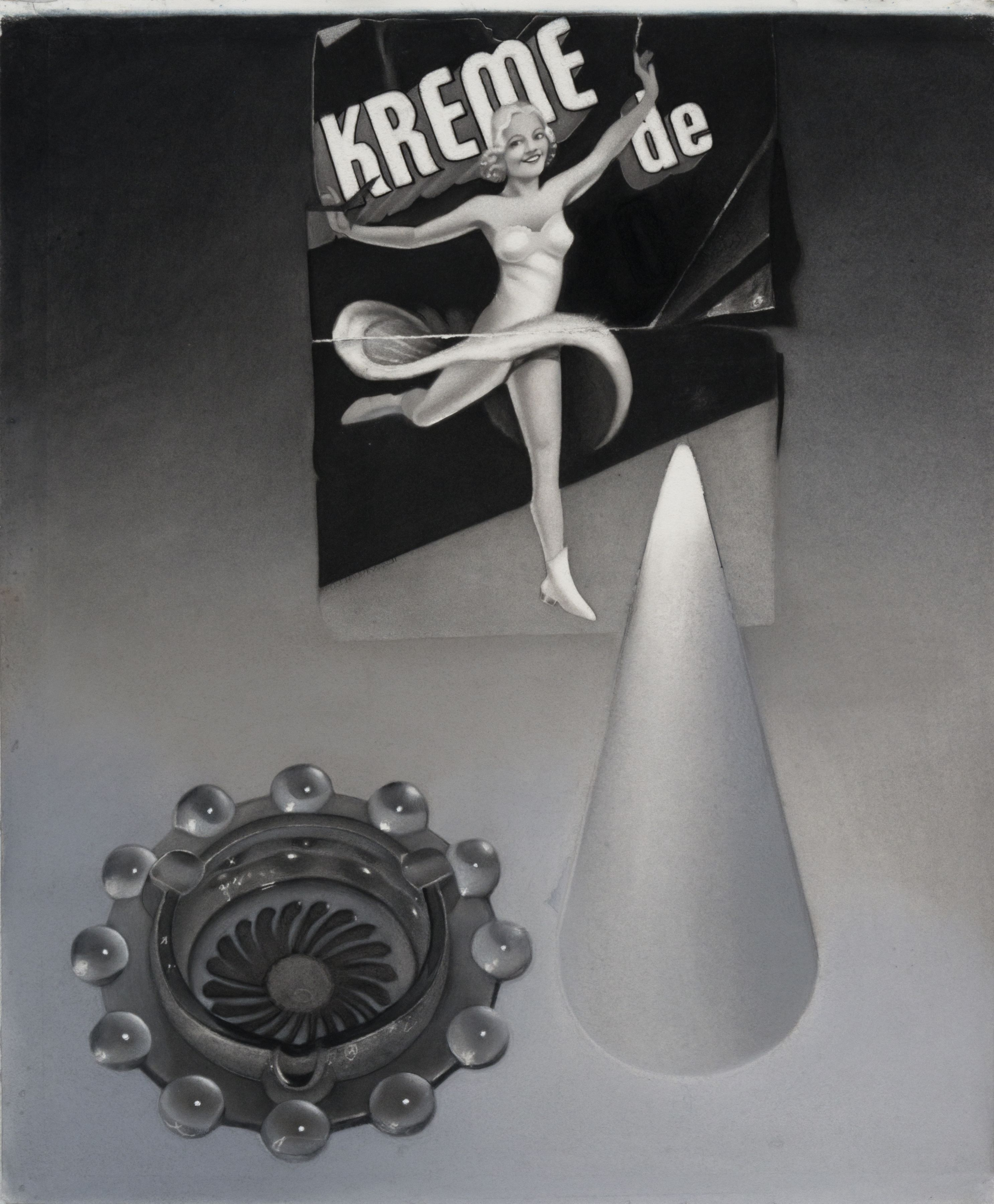 susan hauptman, Still Life (Kreme de), 2011, charcoal on paper, 32 x 38 1/2 inches