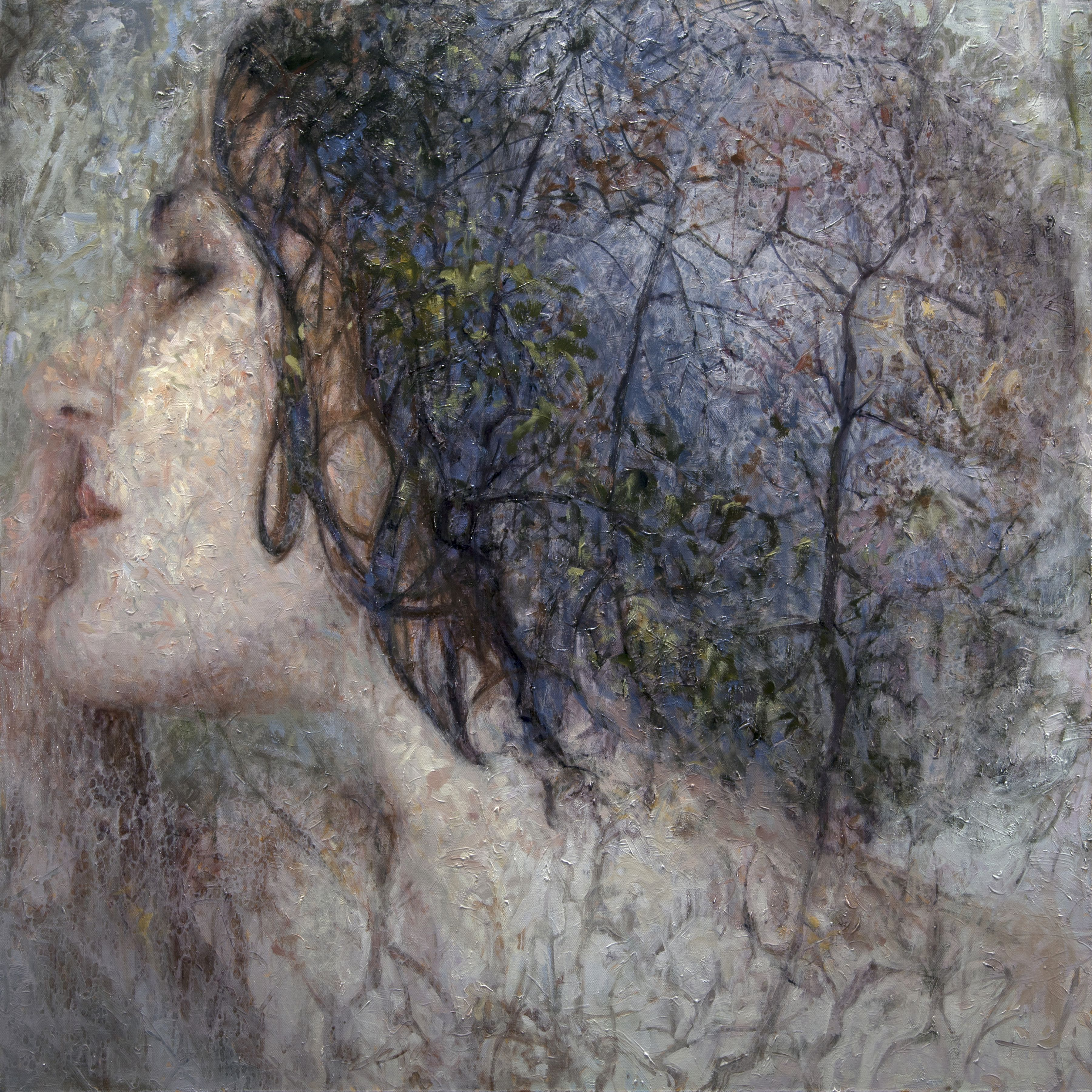 alyssa monks, Assimilate (SOLD), 2015, oil on linen, 56 x 56 inches