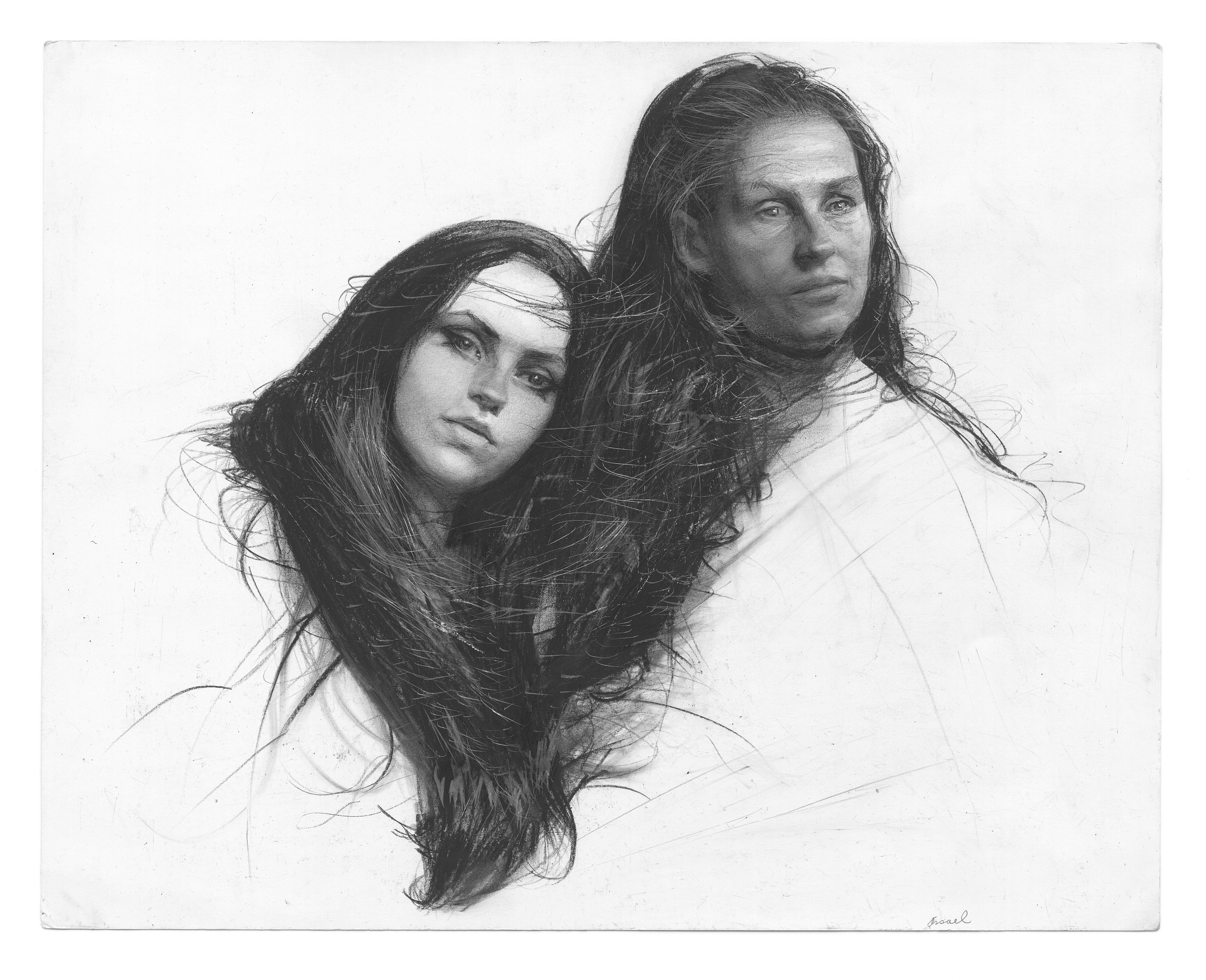 Steven Assael, Leah and Marilyn, 2013, graphite and crayon on paper, 11 x 14 inches