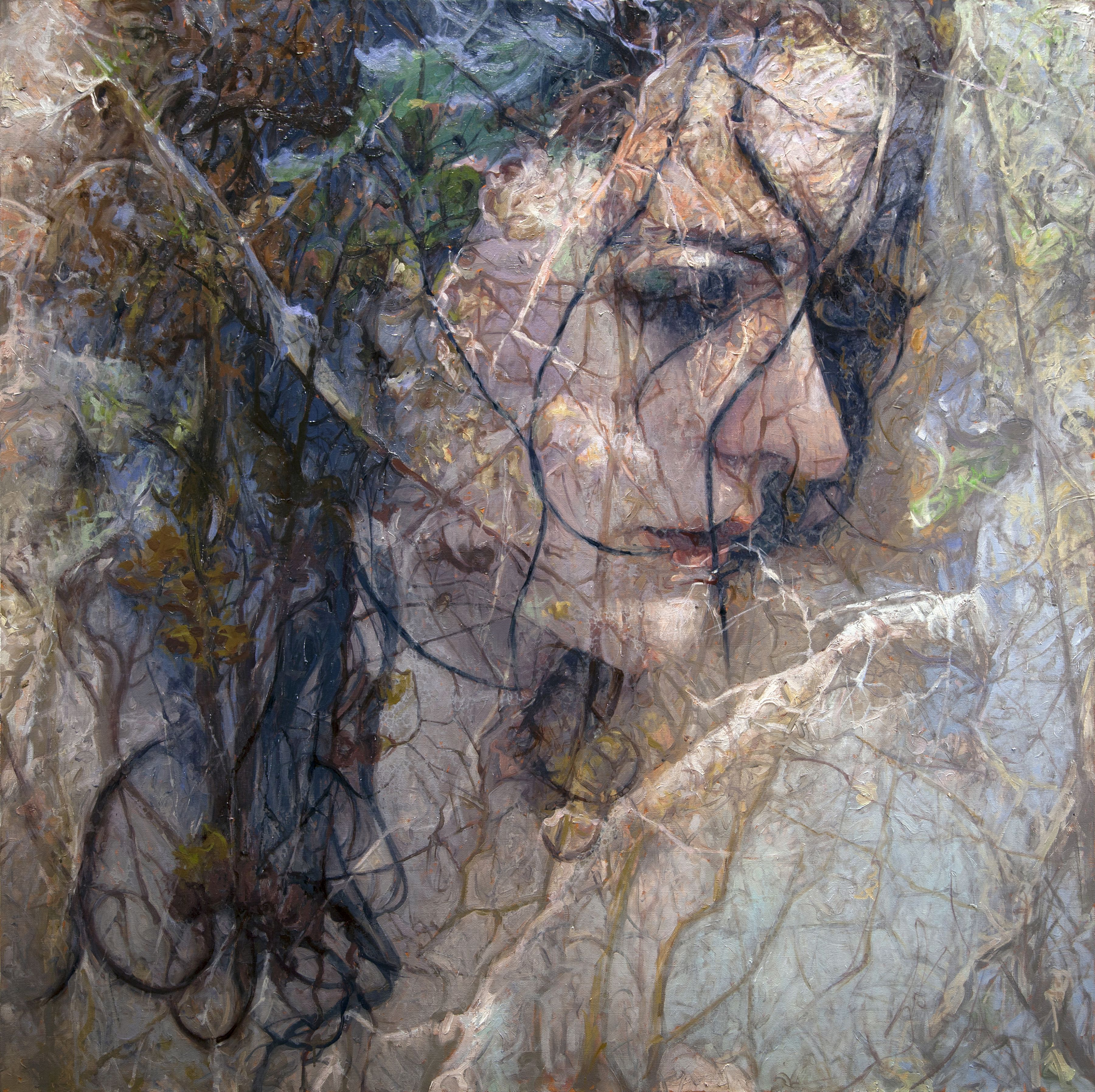 alyssa monks, Absorb (SOLD), 2015, oil on linen, 56 x 56 inches