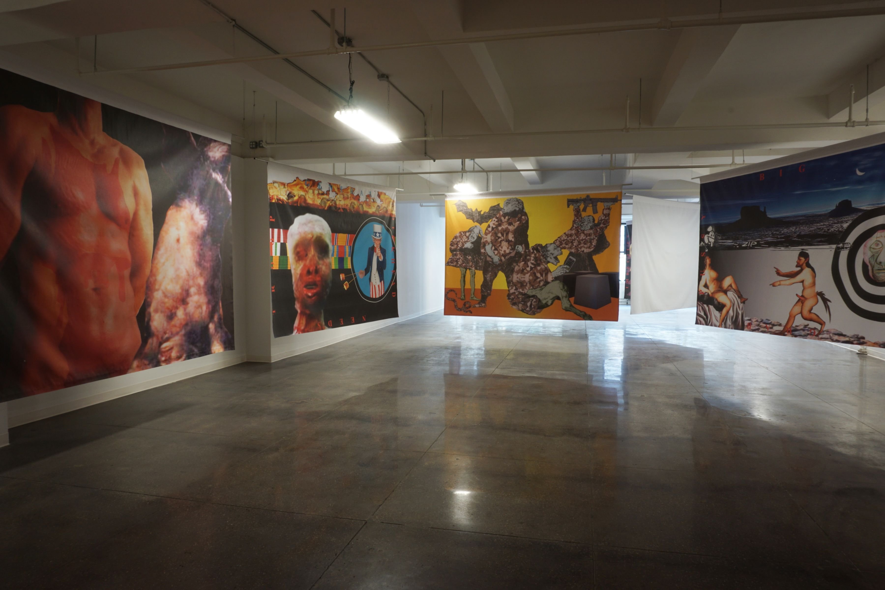 Installation view, Robert Morris: Banners and Curses, 24 WEST 40