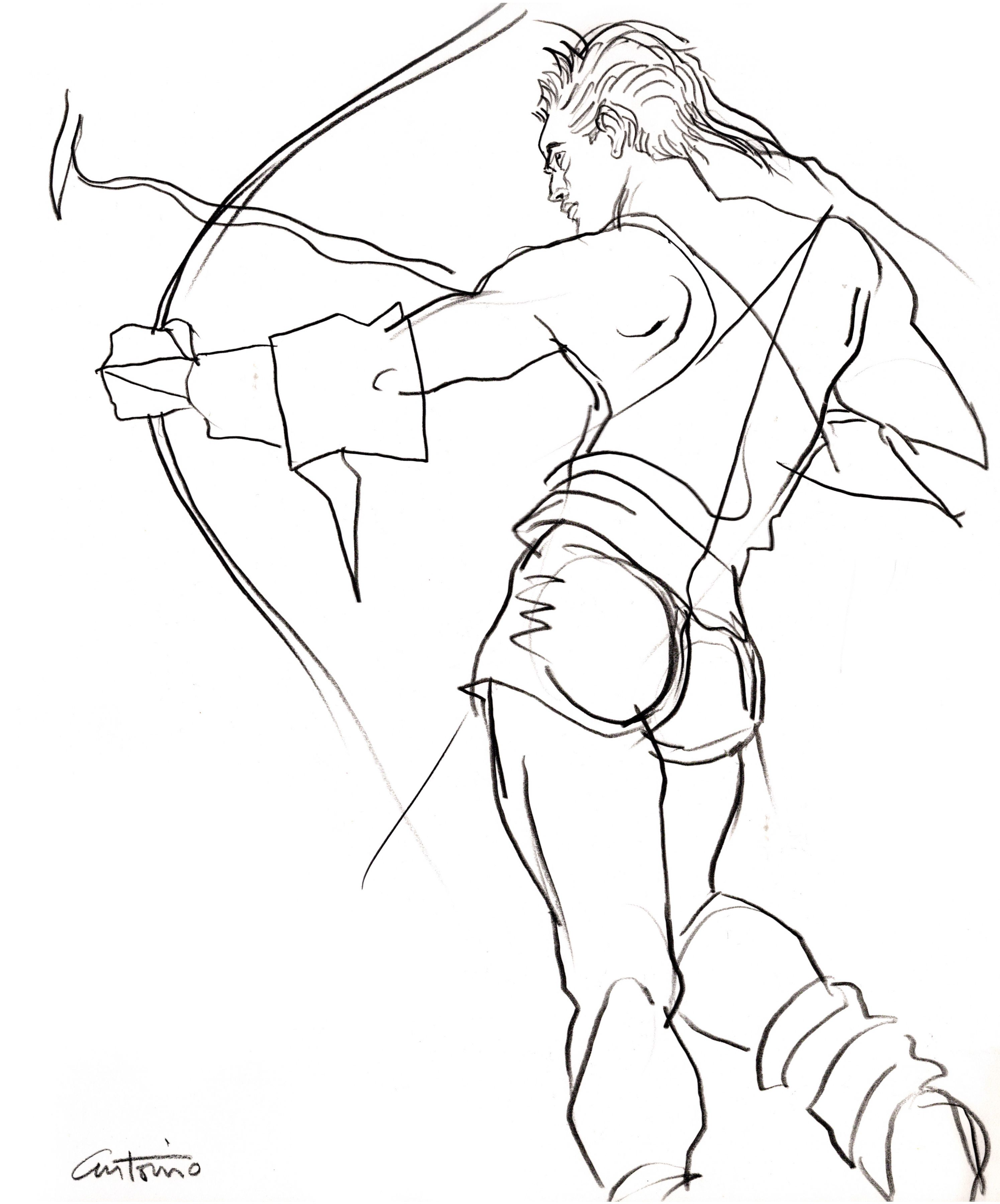 Drawing of archer by Antonio Lopez